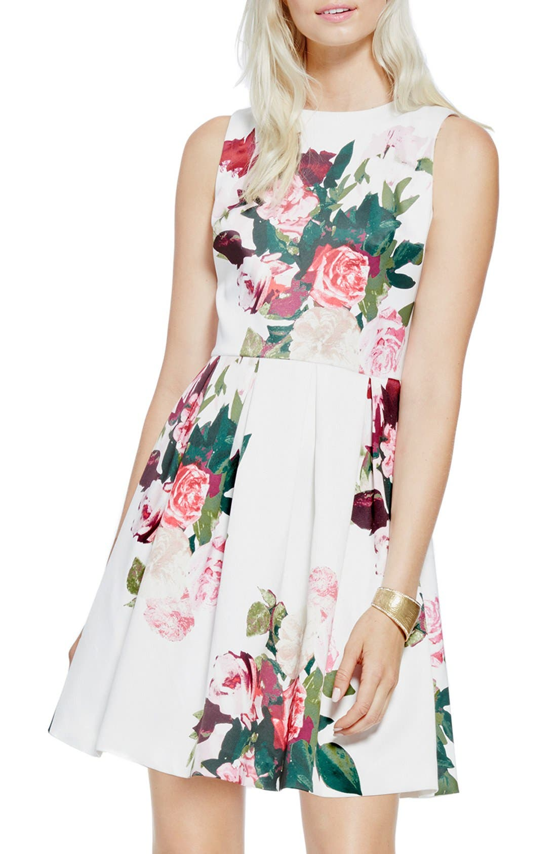 Alternate Image 1 Selected - Vince Camuto 'Rose Bouquet' Fit & Flare Dress