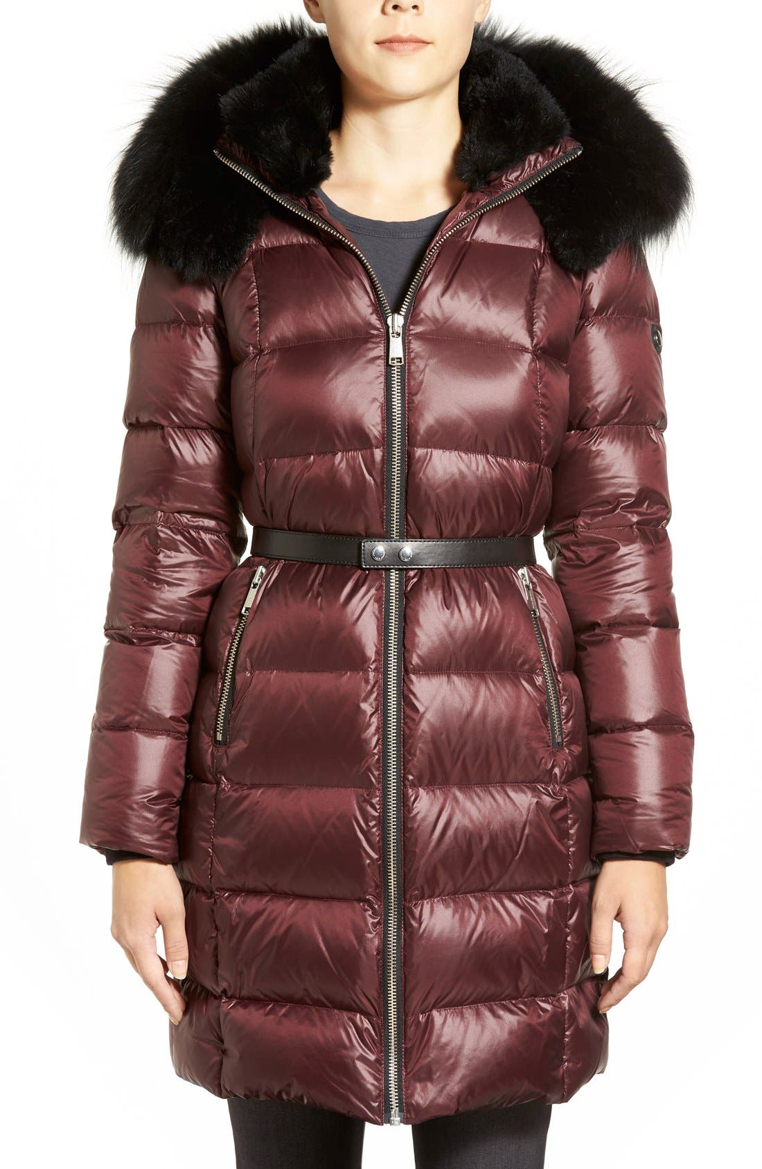Main Image - Andrew Marc 'Tatiana' Belted Down Coat with Genuine Fox & Rabbit Fur Trim