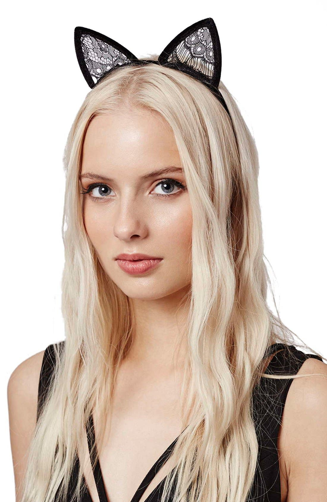 Alternate Image 1 Selected - Topshop Velvet Cat Ears Headband