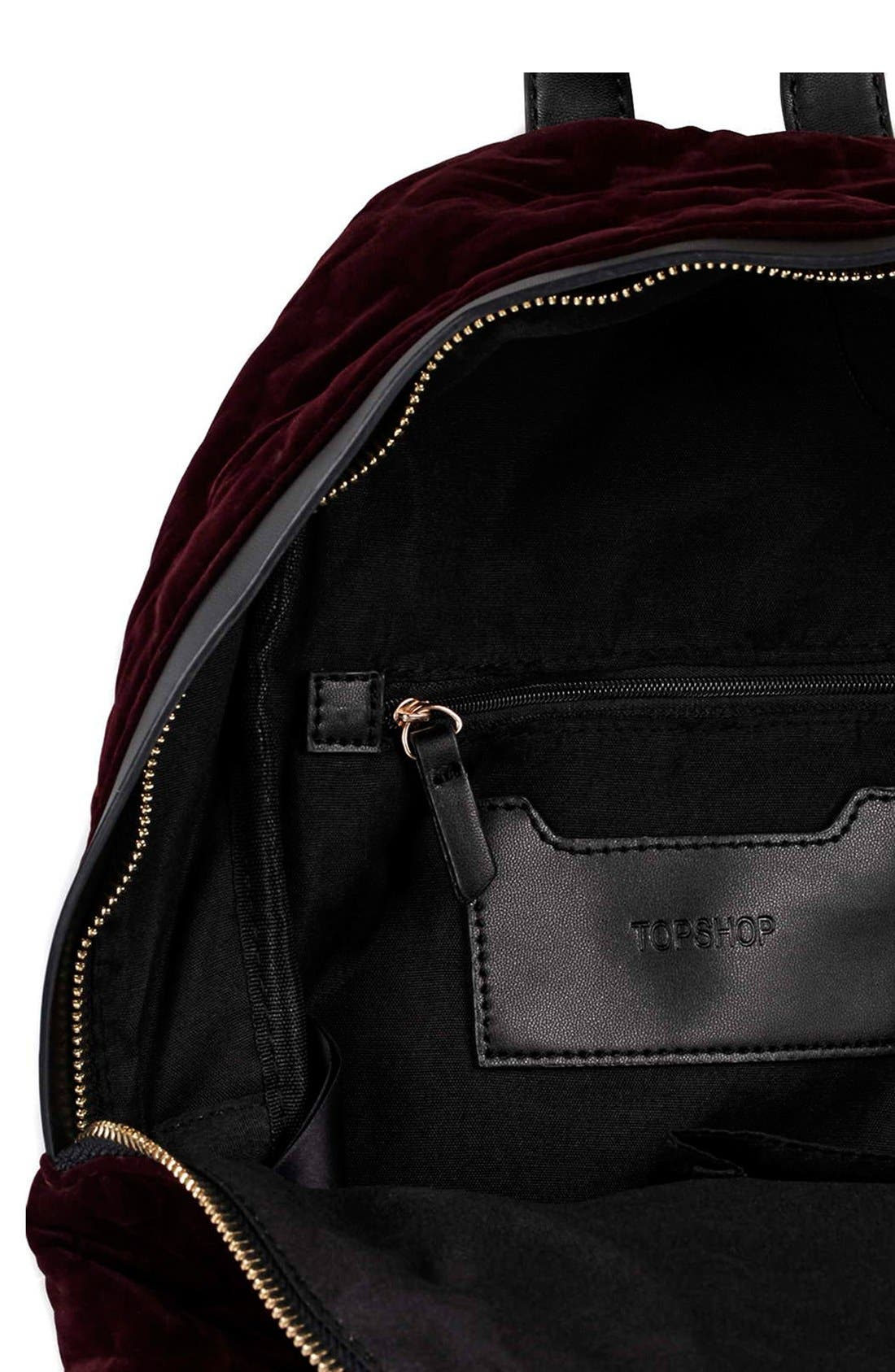 Alternate Image 5  - Topshop 'Bristol' Velvet Backpack