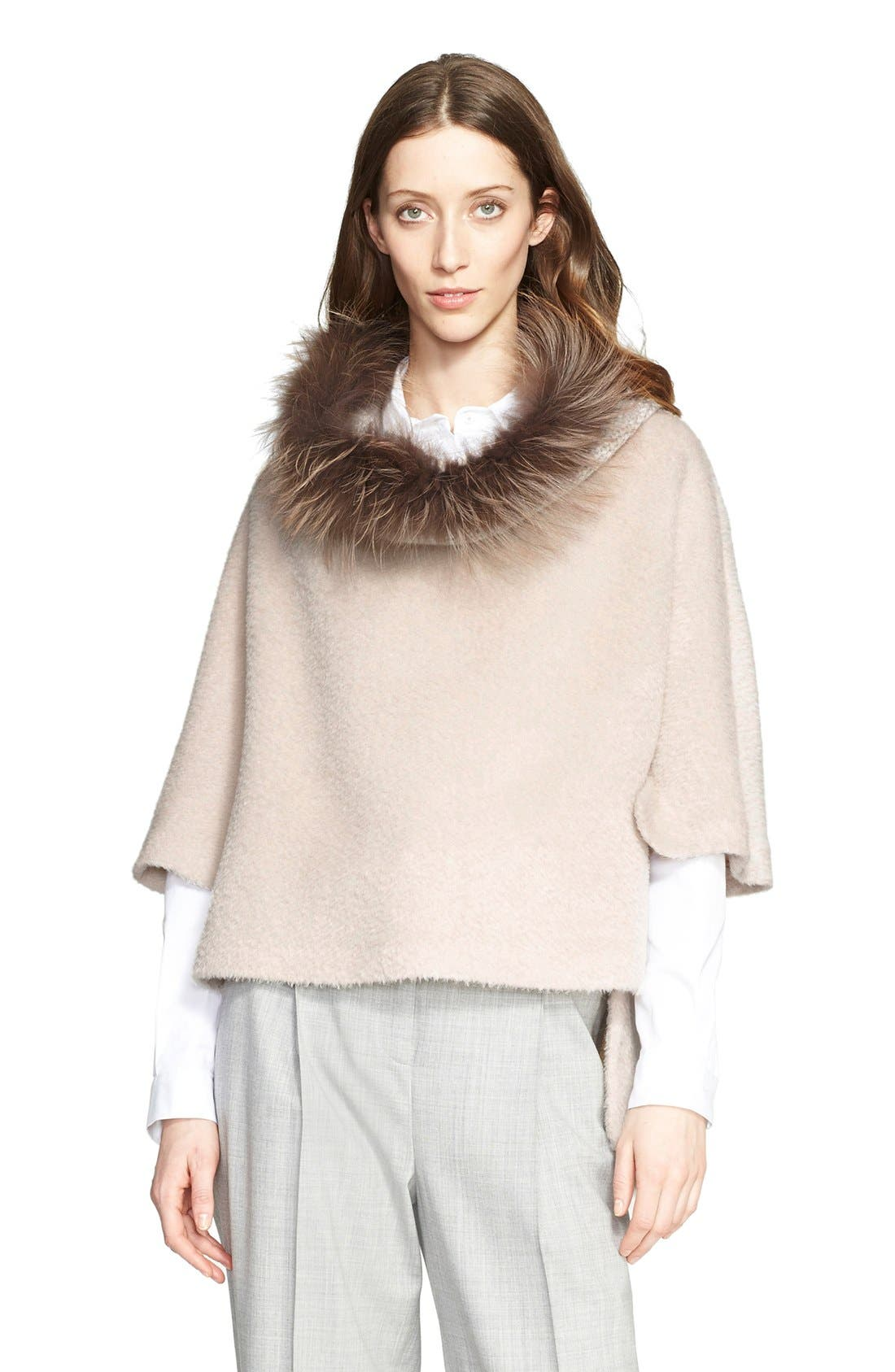 Alternate Image 1 Selected - Fabiana Filippi Alpaca Wool Blend Poncho Sweater with Genuine Fox Fur Collar