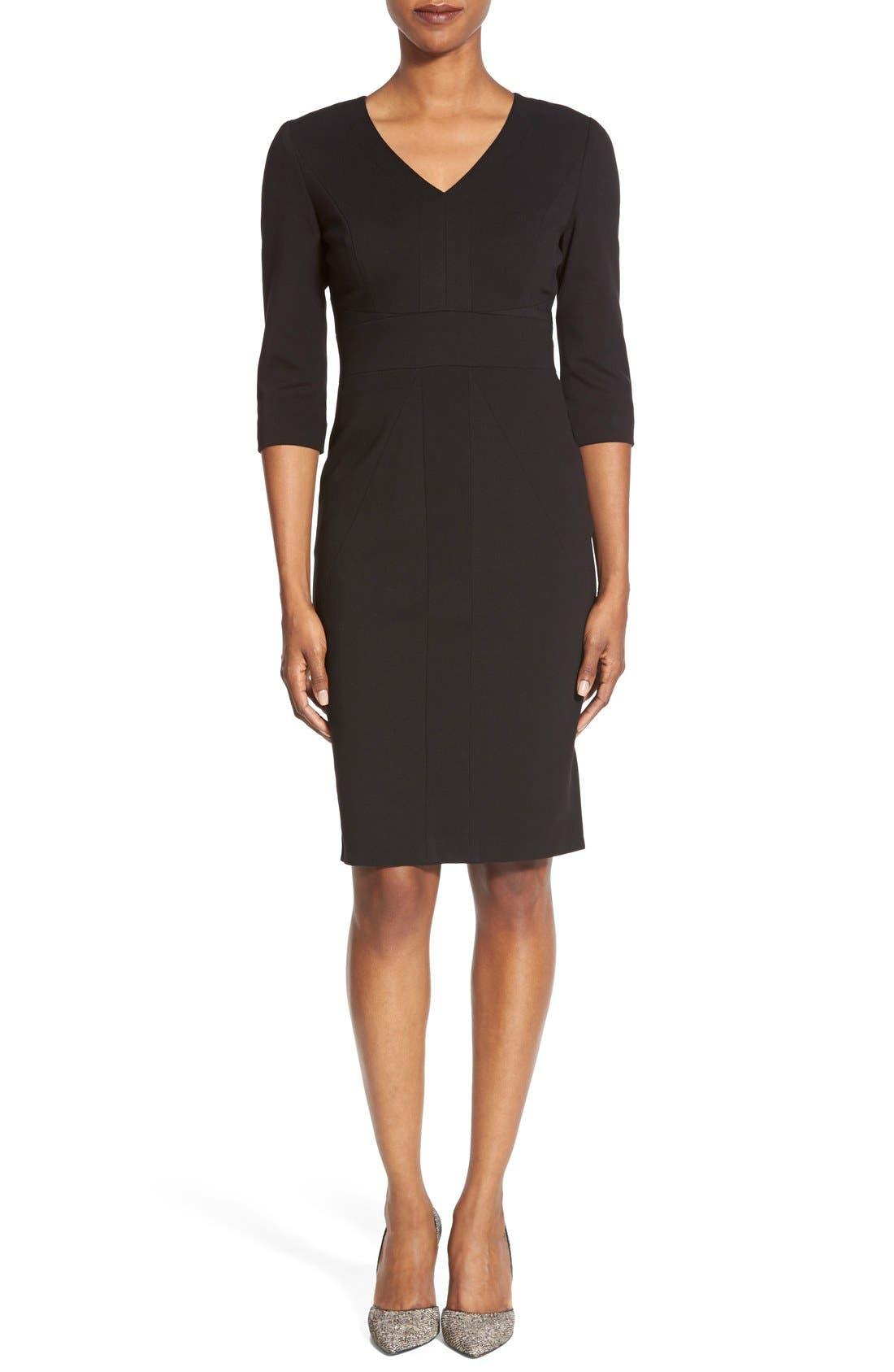 Main Image - Classiques Entier® V-Neck Ponte Sheath Dress (Regular & Petite)