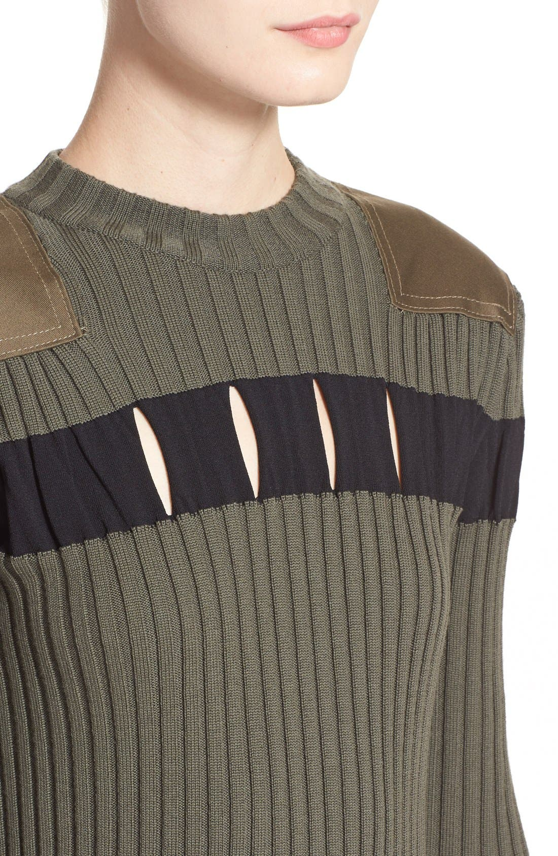 Alternate Image 6  - Alexander Wang Perforated Stripe Rib Knit Wool Dress