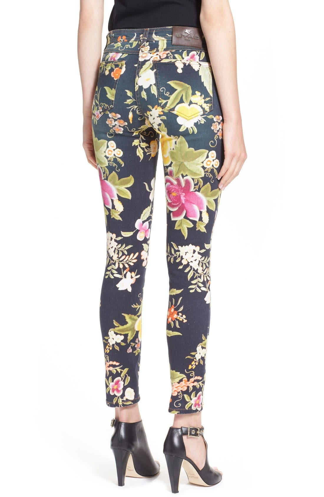 Alternate Image 2  - Etro Floral Print Skinny Fit Stretch Cotton Jeans