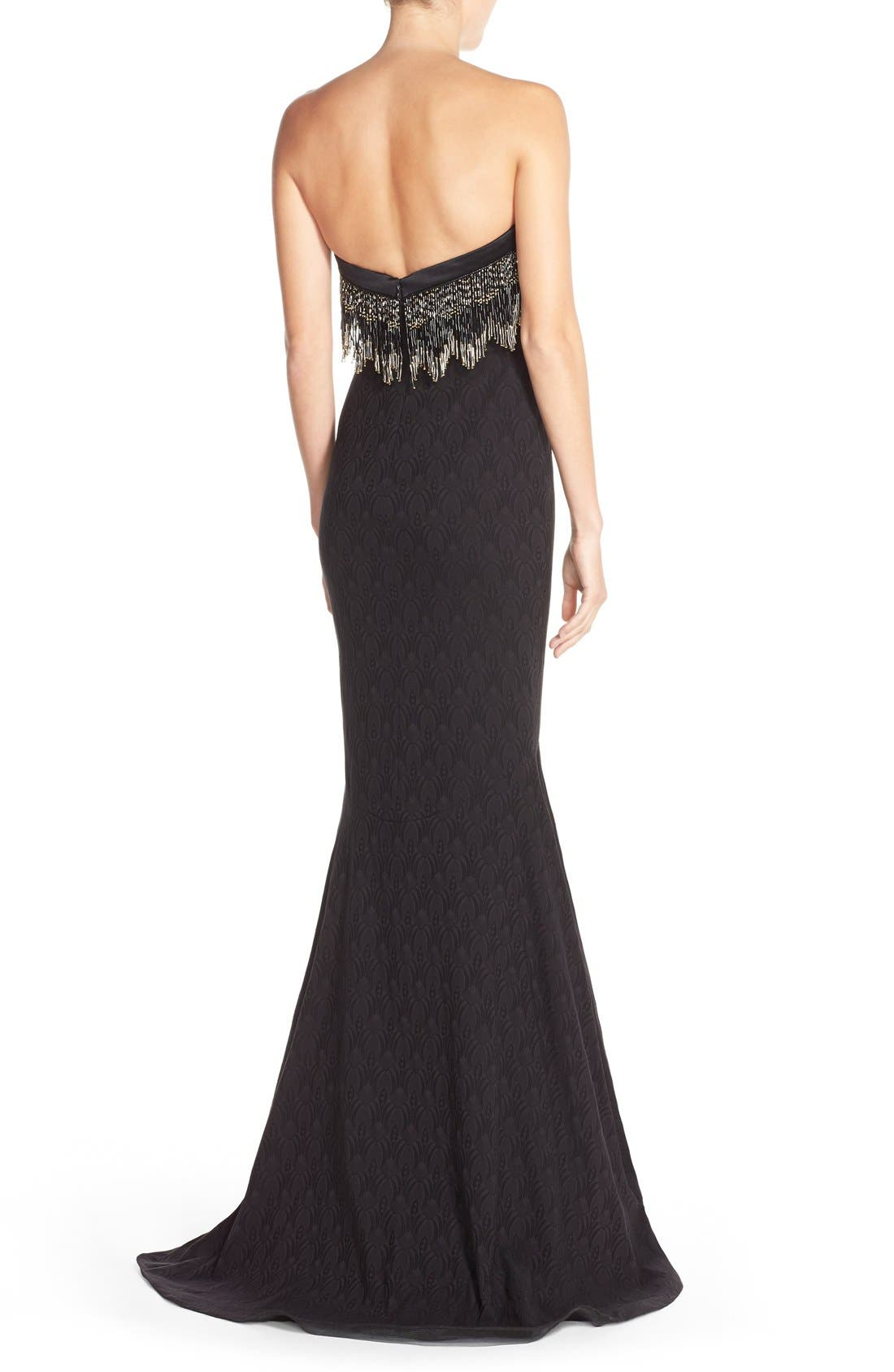 Alternate Image 2  - Badgley Mischka Bead Fringe Jacquard Mermaid Gown