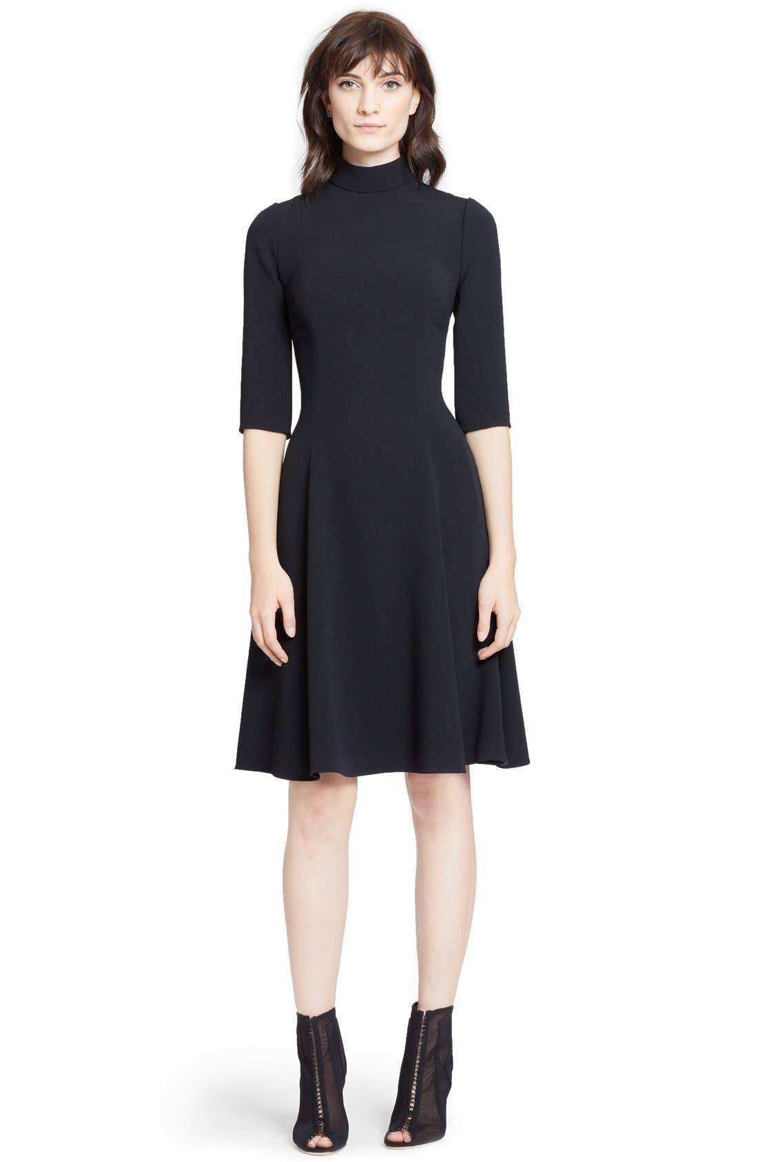 Alternate Image 1 Selected - Dolce&Gabbana Mock Turtleneck Cady A-Line Dress