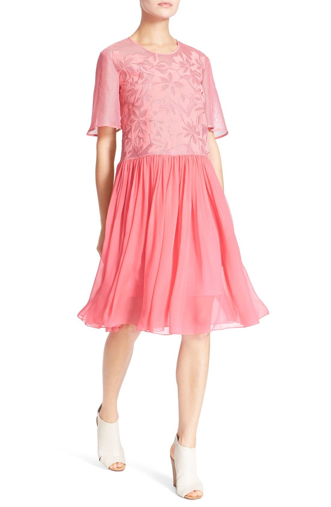 Alternate Image 4  - Rebecca Taylor Floral Appliqué Dress