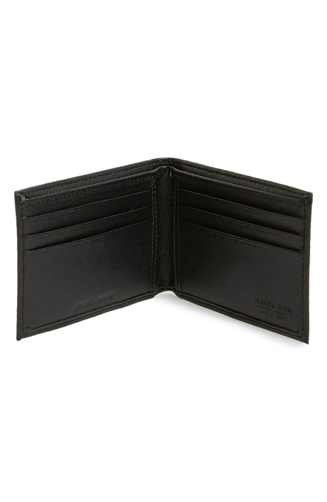Alternate Image 2  - Nordstrom Men's Shop Large Saffiano Leather Bifold Wallet