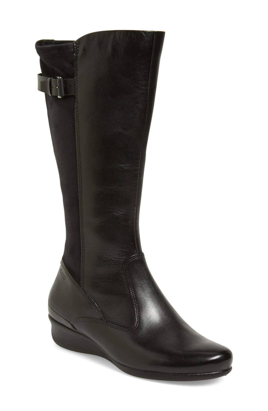 Alternate Image 1 Selected - ECCO 'Abelone Tall' Stretch Back Wedge Boot (Women)