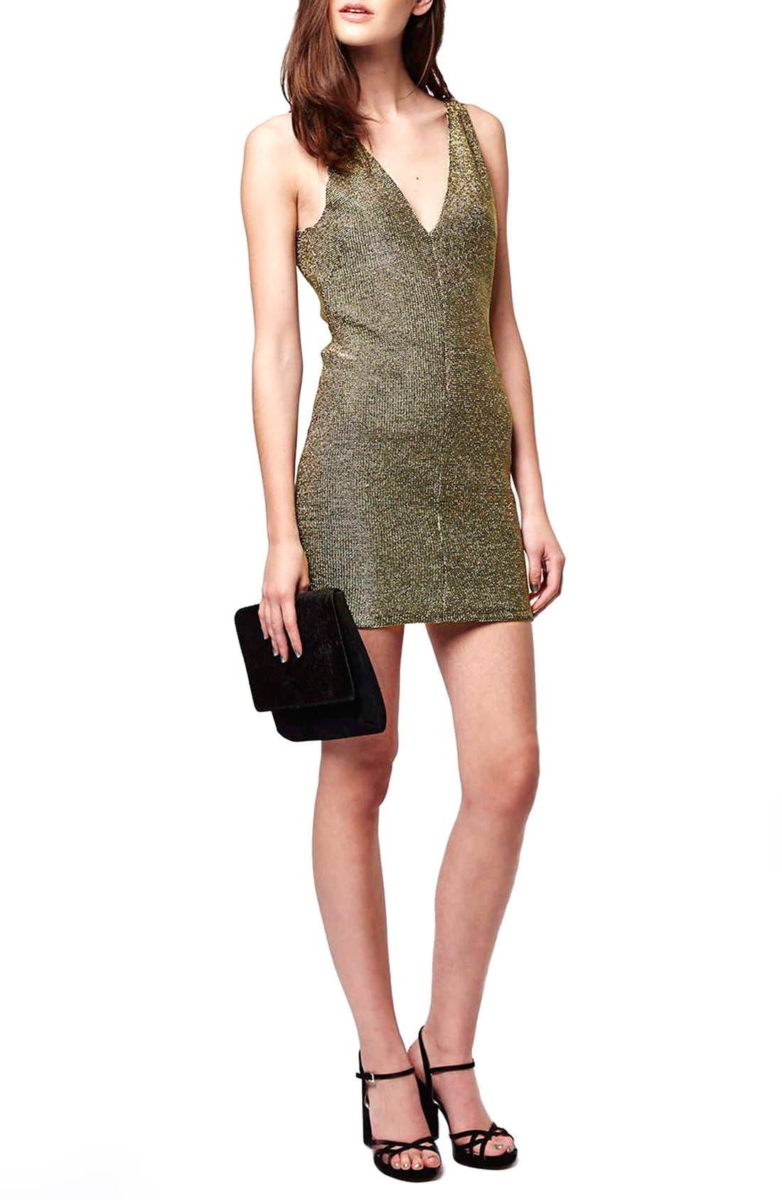 Main Image - Topshop Metallic Body-Con Dress