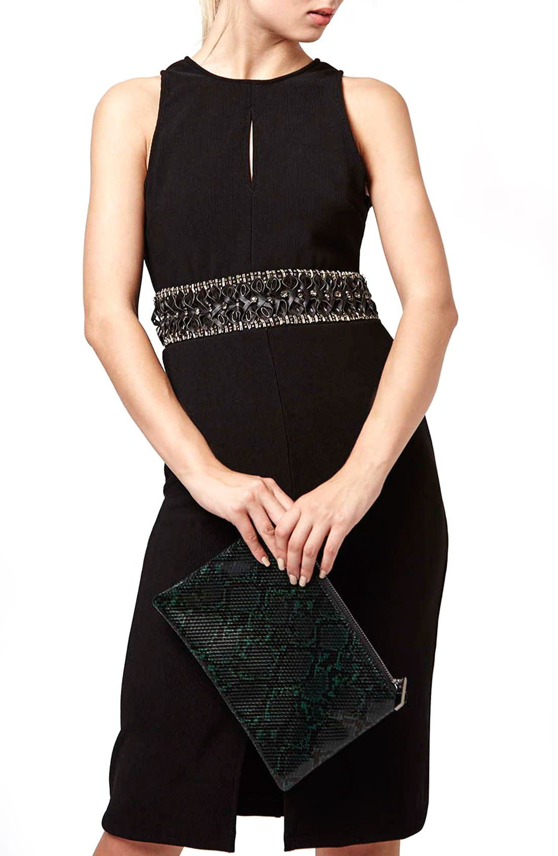 Alternate Image 1 Selected - Topshop Embellished Waist Body-Con Dress