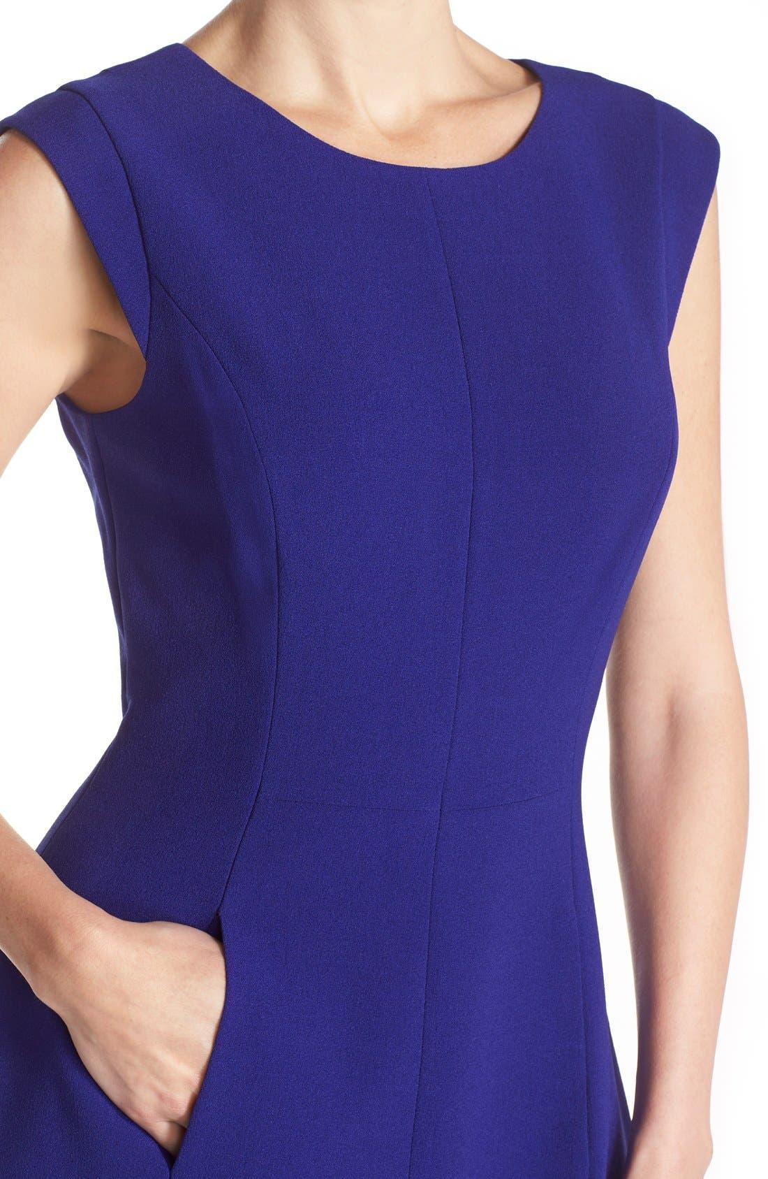 Alternate Image 4  - Vince Camuto Seamed Crepe Fit & Flare Dress (Regular & Petite)