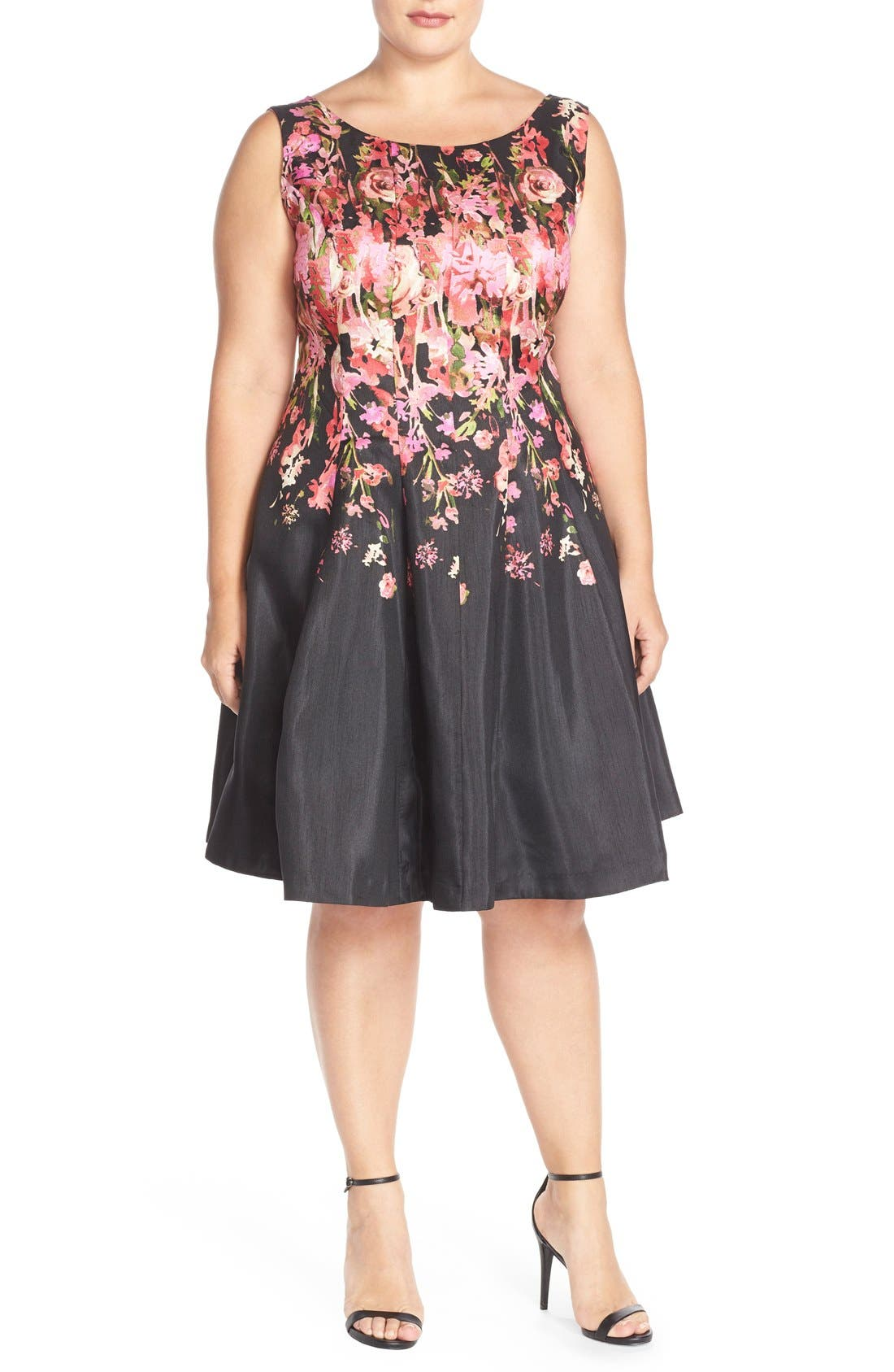 Alternate Image 5  - Gabby Skye Floral Shantung Fit & Flare Dress (Plus Size)