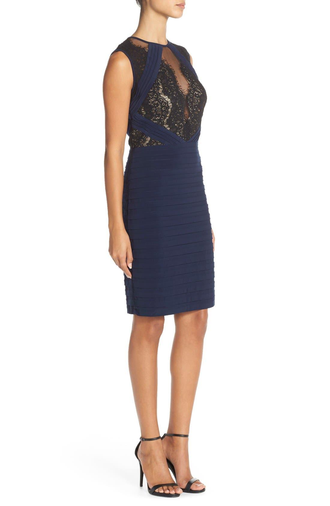 Alternate Image 3  - Xscape Lace & Pleat Jersey Sheath Dress