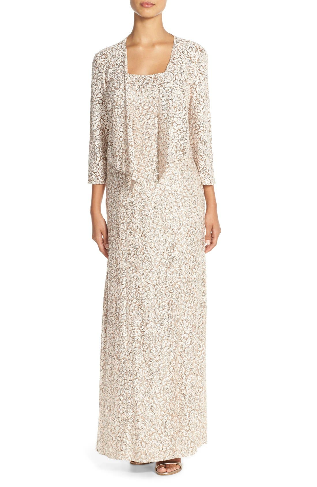 ALEX EVENINGS Sequin Embroidered Mesh A-Line Gown &