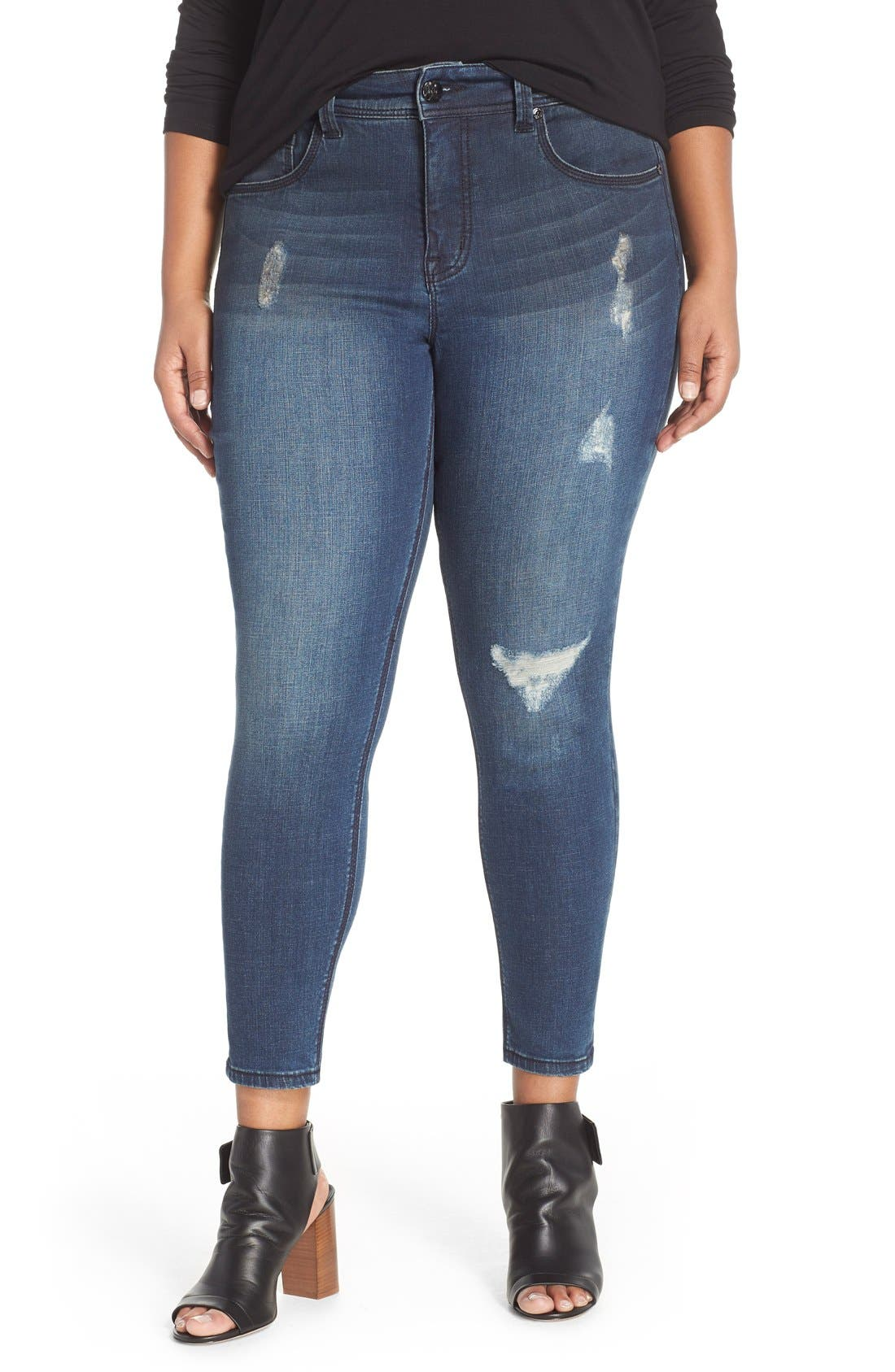 Melissa McCarthy Seven7 Distressed Pencil Leg Jeans (Rebel) (Plus Size)