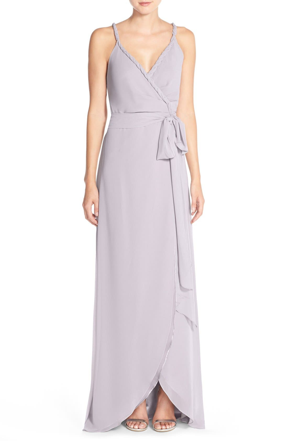 Ceremony by Joanna August 'Parker' Twist Strap Chiffon Wrap Gown