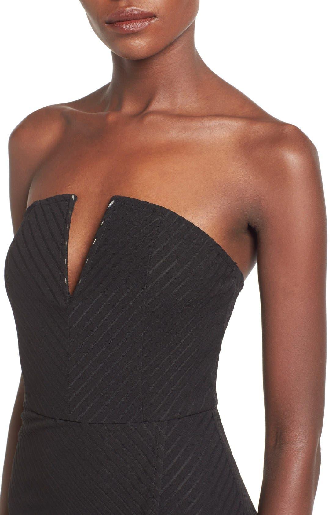 Alternate Image 4  - Missguided Stripe Strapless High/Low Dress