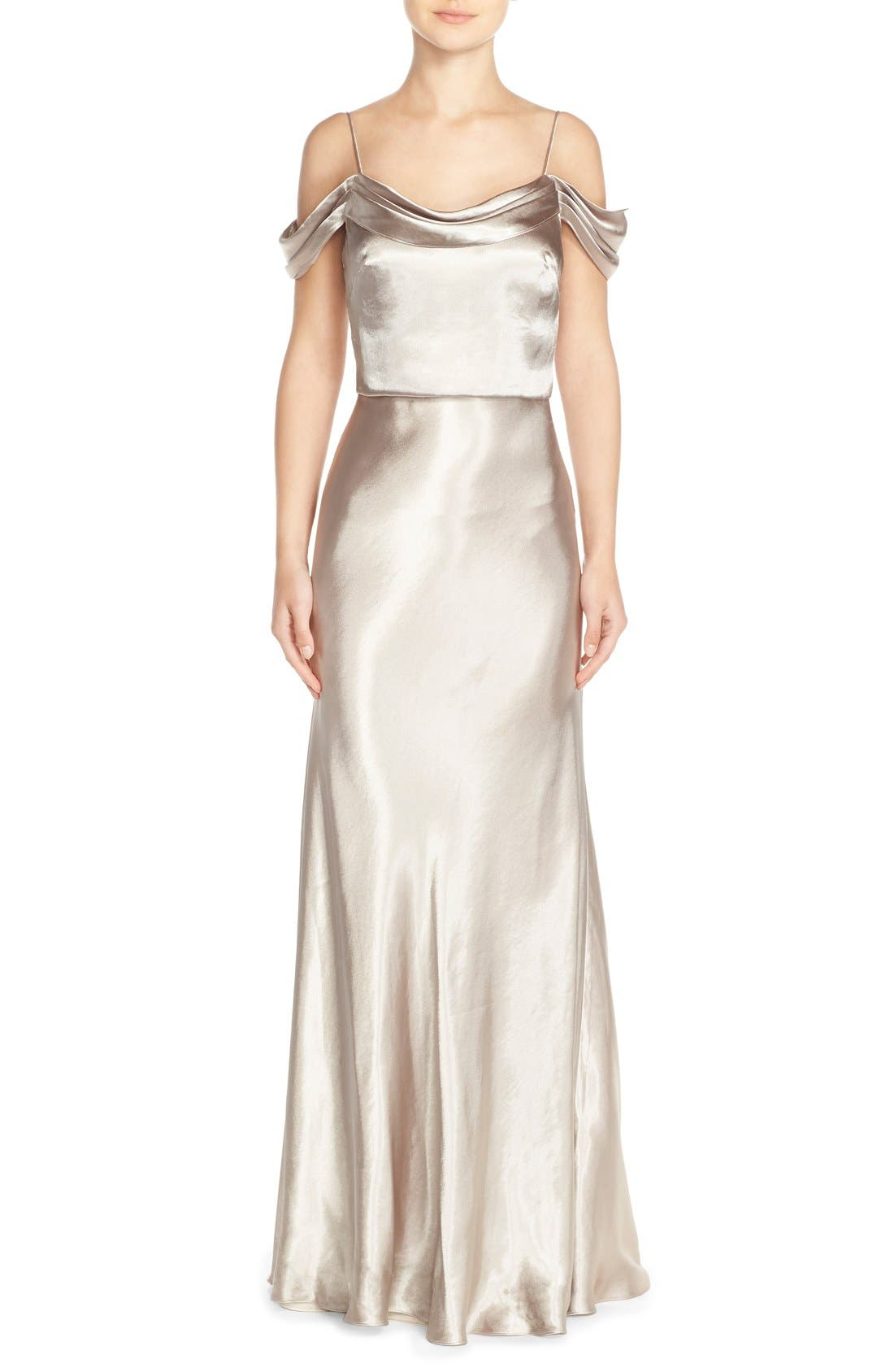 Main Image - Jenny Yoo 'Sabine' Draped Pleat Neck Charmeuse Gown