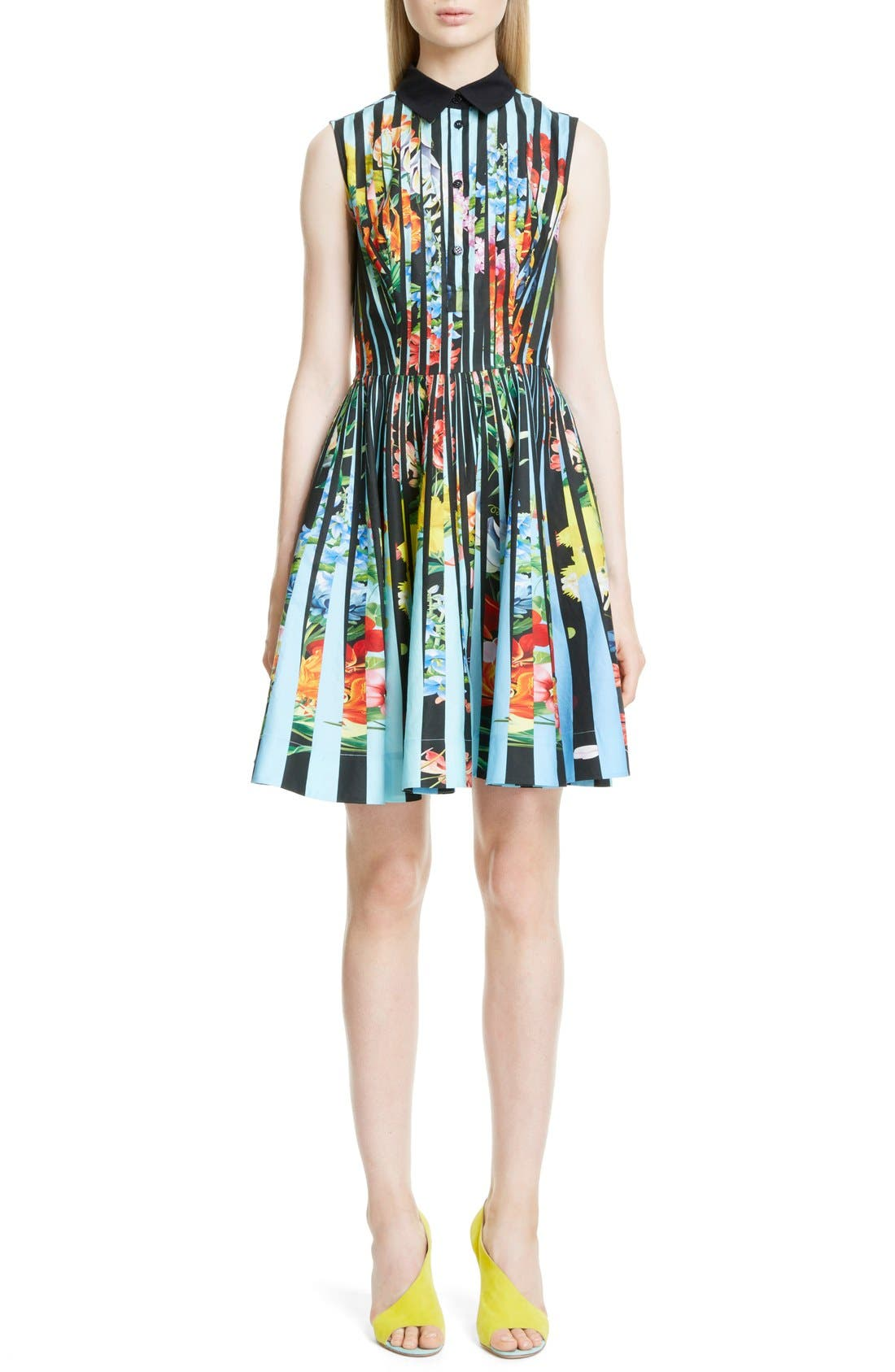 Alternate Image 1 Selected - Mary Katrantzou Techno Flower Print Cotton Shirtdress