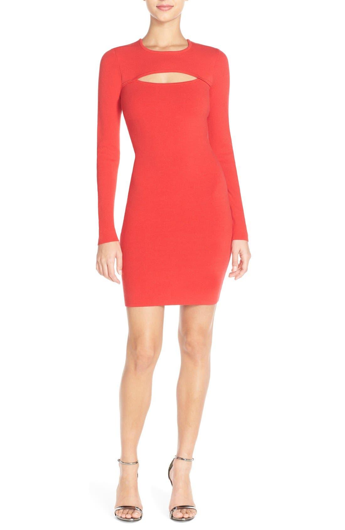 Alternate Image 1 Selected - BCBGMAXAZRIA 'Fyonna' Cutout Sweater Body-Con Dress