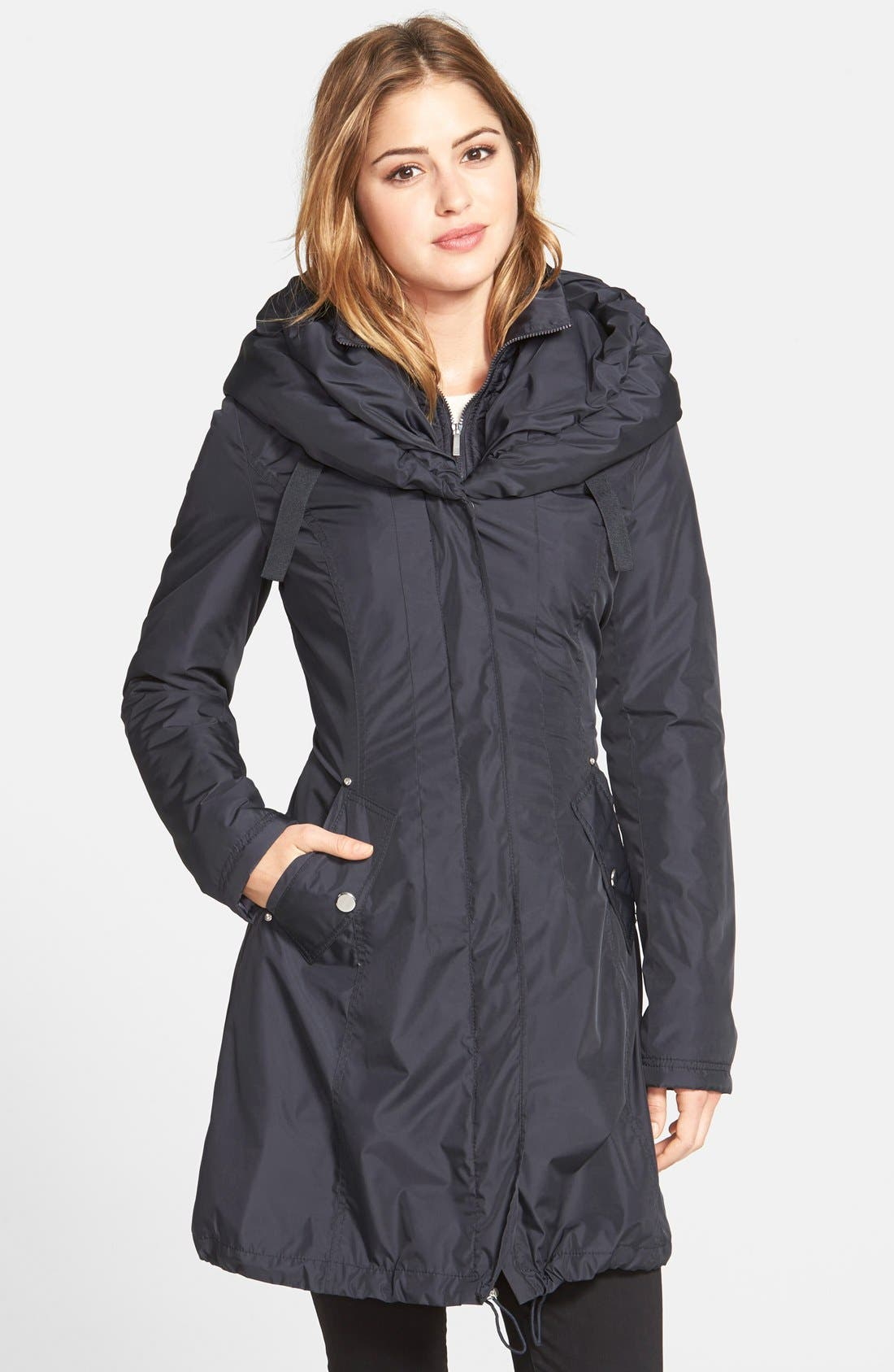 Laundry by Shelli Segal Pillow Collar Raincoat with Detachable Quilted Hooded Bib Insert (Regular & Petite)
