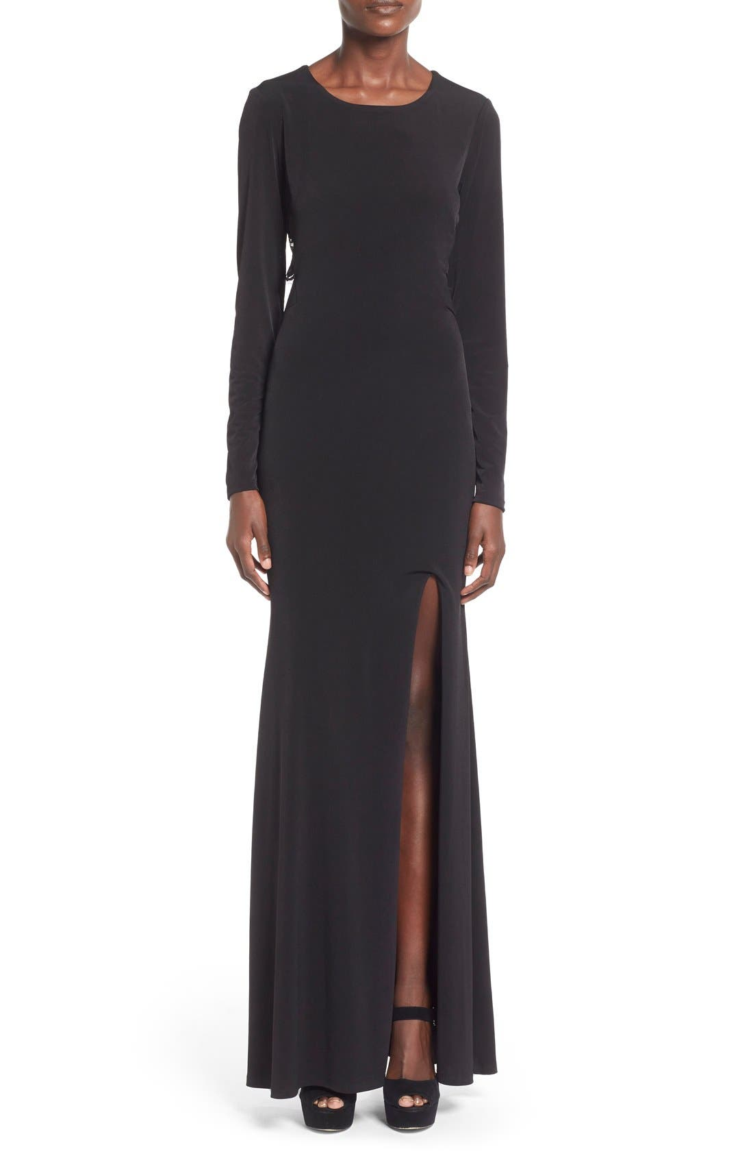 Main Image - Way-In 'Sam' Cutout Long Sleeve Gown