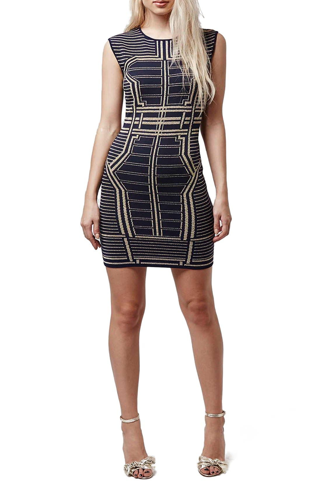 Alternate Image 2  - Topshop Metallic Geo Body-Con Dress