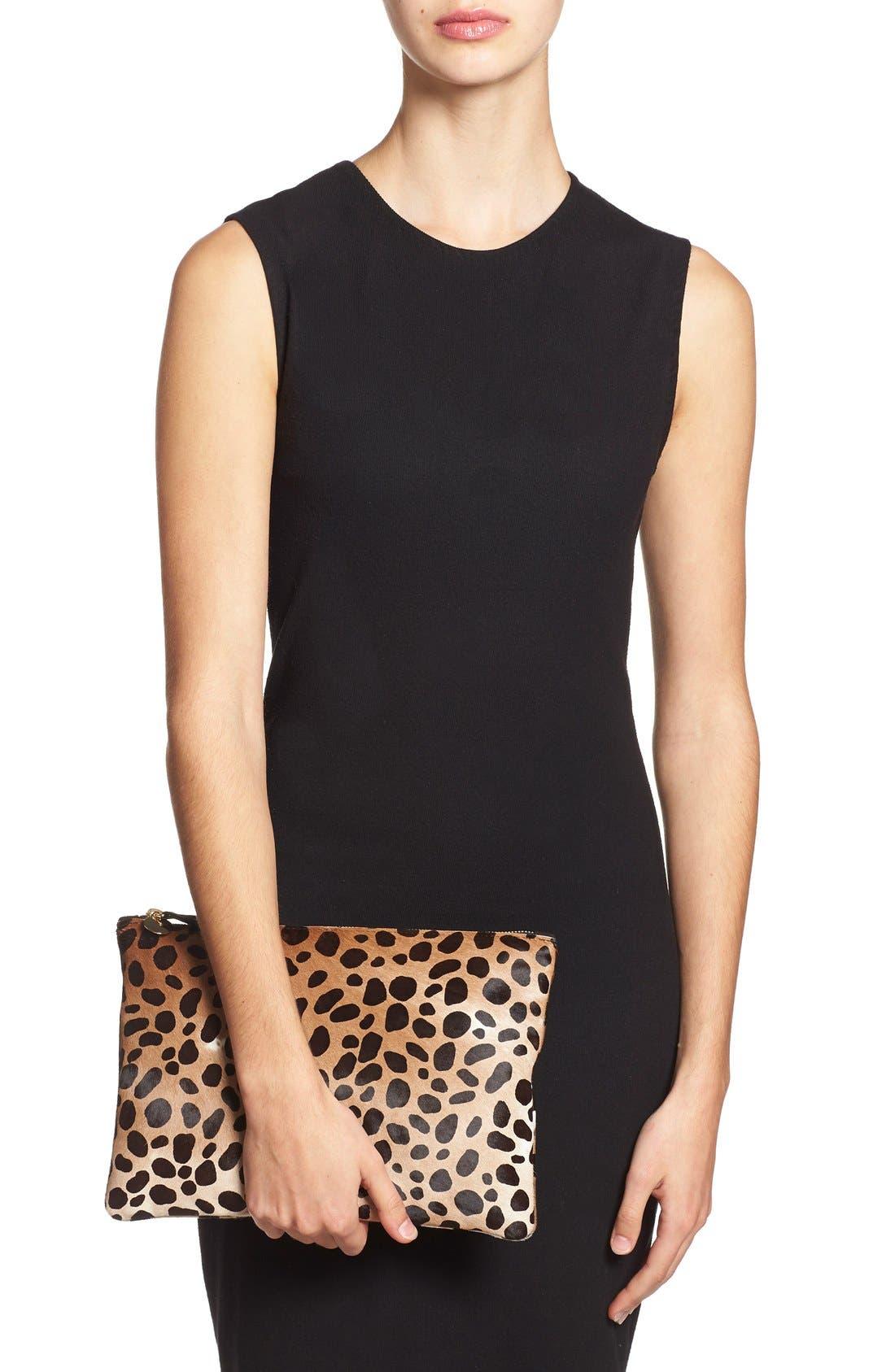 Alternate Image 2  - Clare V. Genuine Calf Hair Leopard Print Zip Clutch