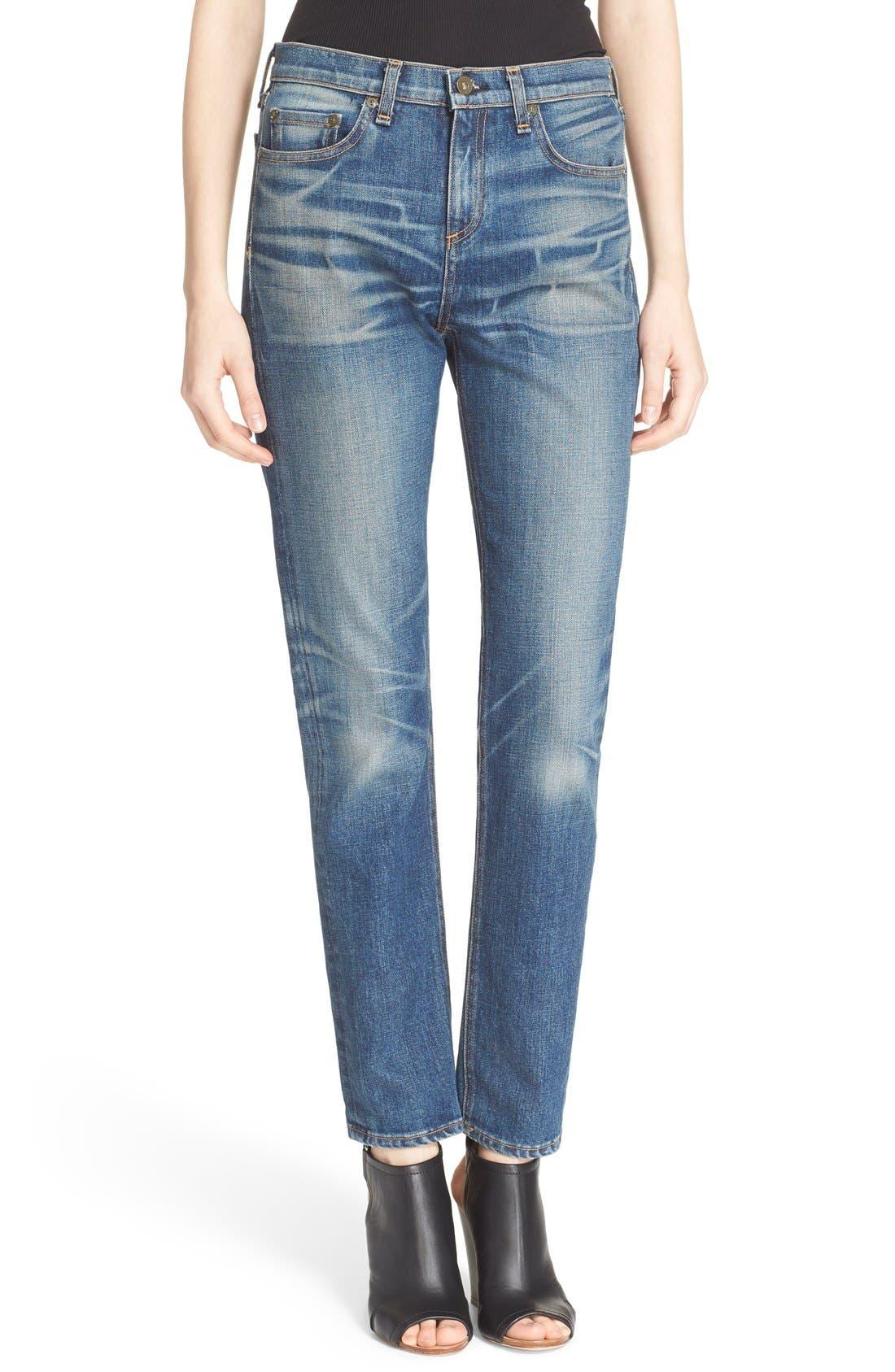 Main Image - rag & bone/JEAN 'Dre' High Rise Boyfriend Skinny Jeans (Exeter)