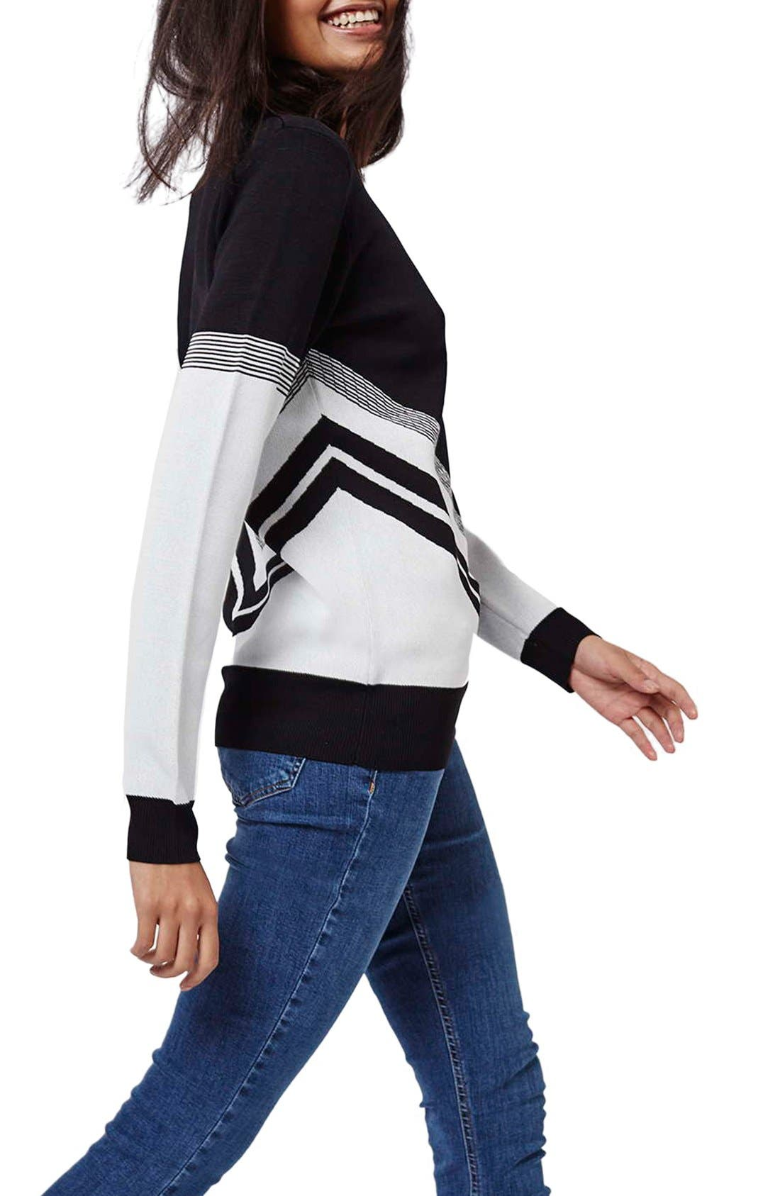 Alternate Image 2  - Topshop Chevron Colorblock Sweater