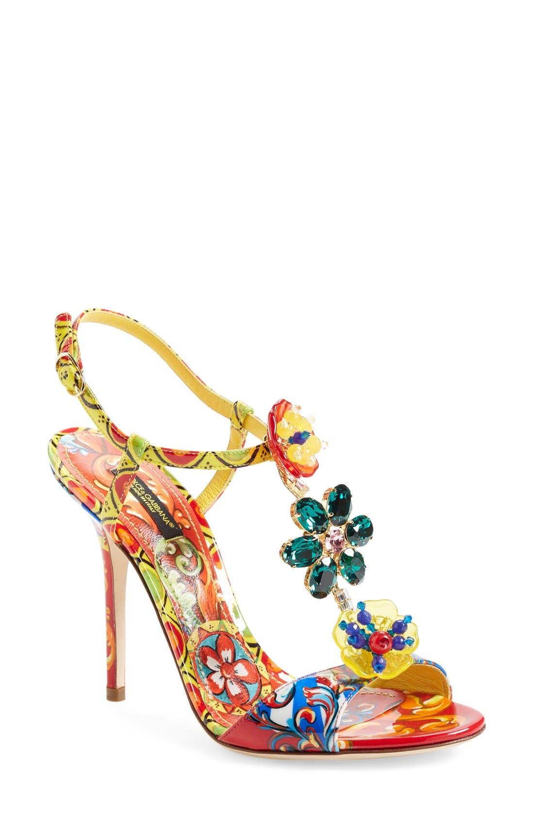 Alternate Image 1 Selected - Dolce&Gabbana Jeweled T-Strap Sandal (Women)
