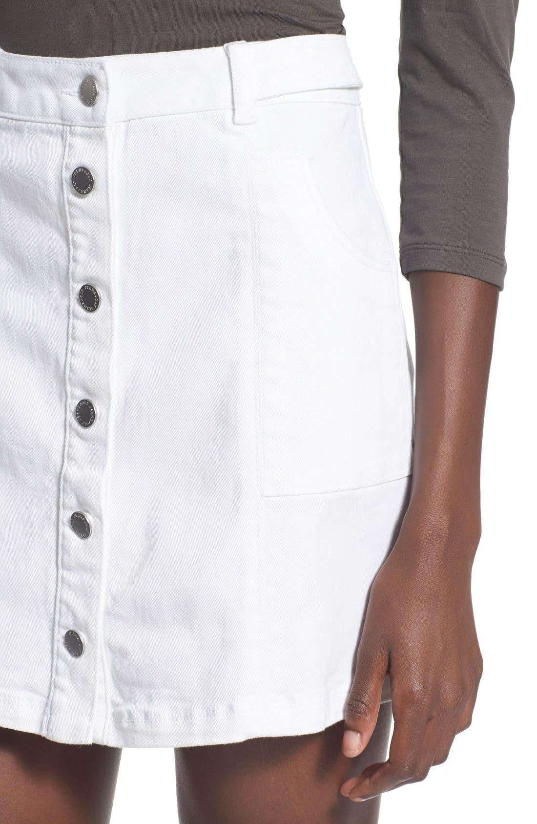 Alternate Image 4  - Jolt Button Front Denim Miniskirt