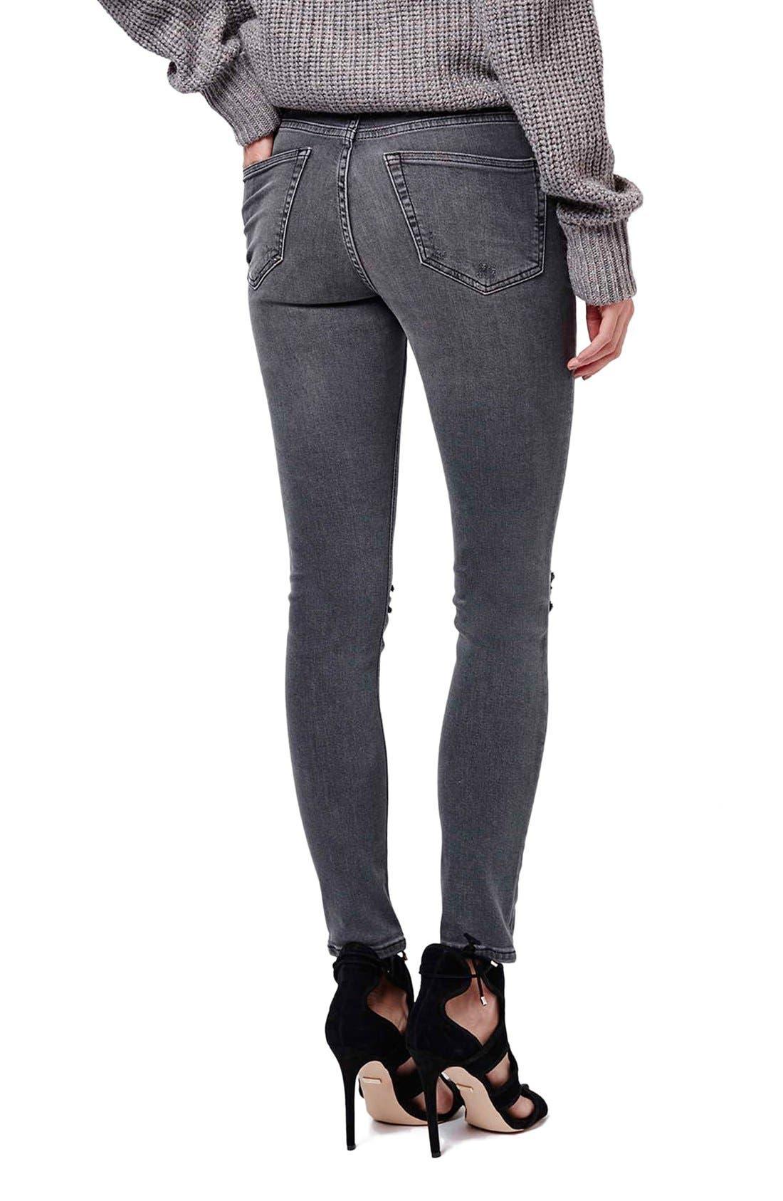 Alternate Image 3  - Topshop 'Jamie' Ripped Skinny Jeans (Grey)