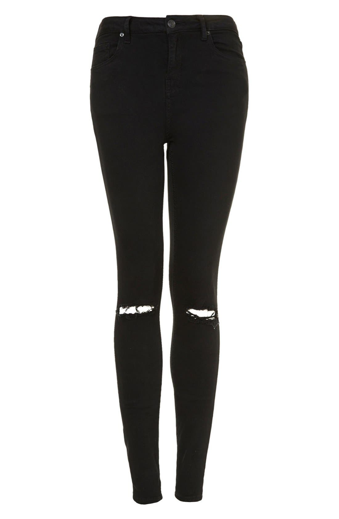 Alternate Image 4  - Topshop Moto 'Jamie' Ripped Skinny Jeans (Tall)