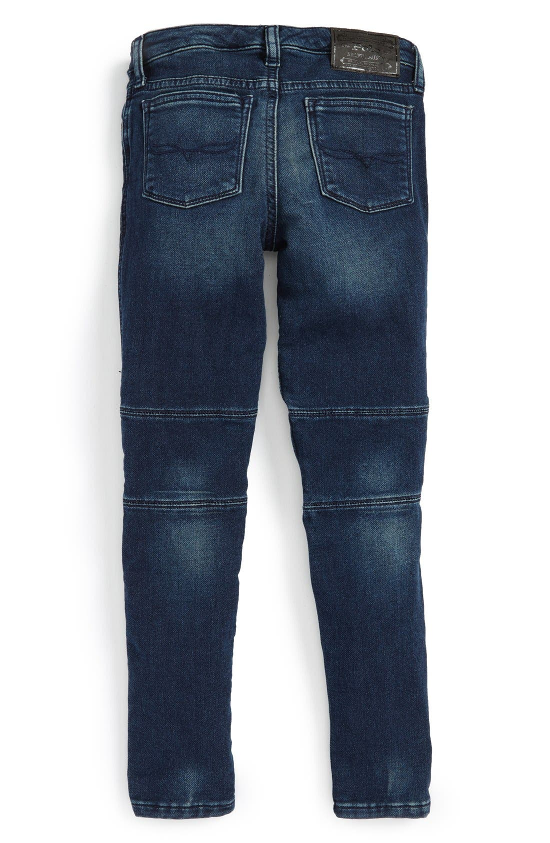 Alternate Image 2  - Ralph Lauren Moto Skinny Jeans (Toddler Girls & Little Girls)