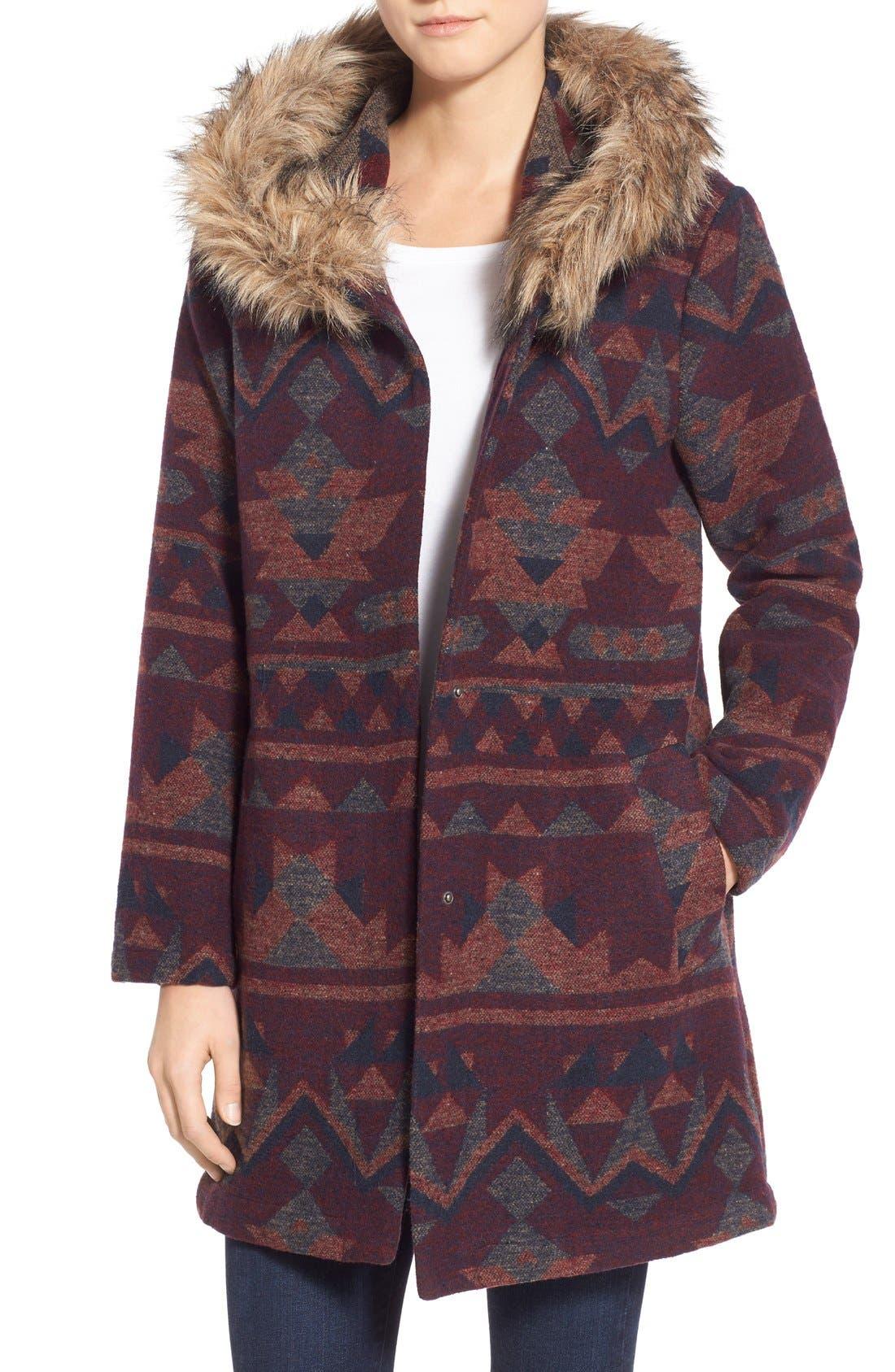 Main Image - BB Dakota Faux Fur Trim Print Hooded Coat