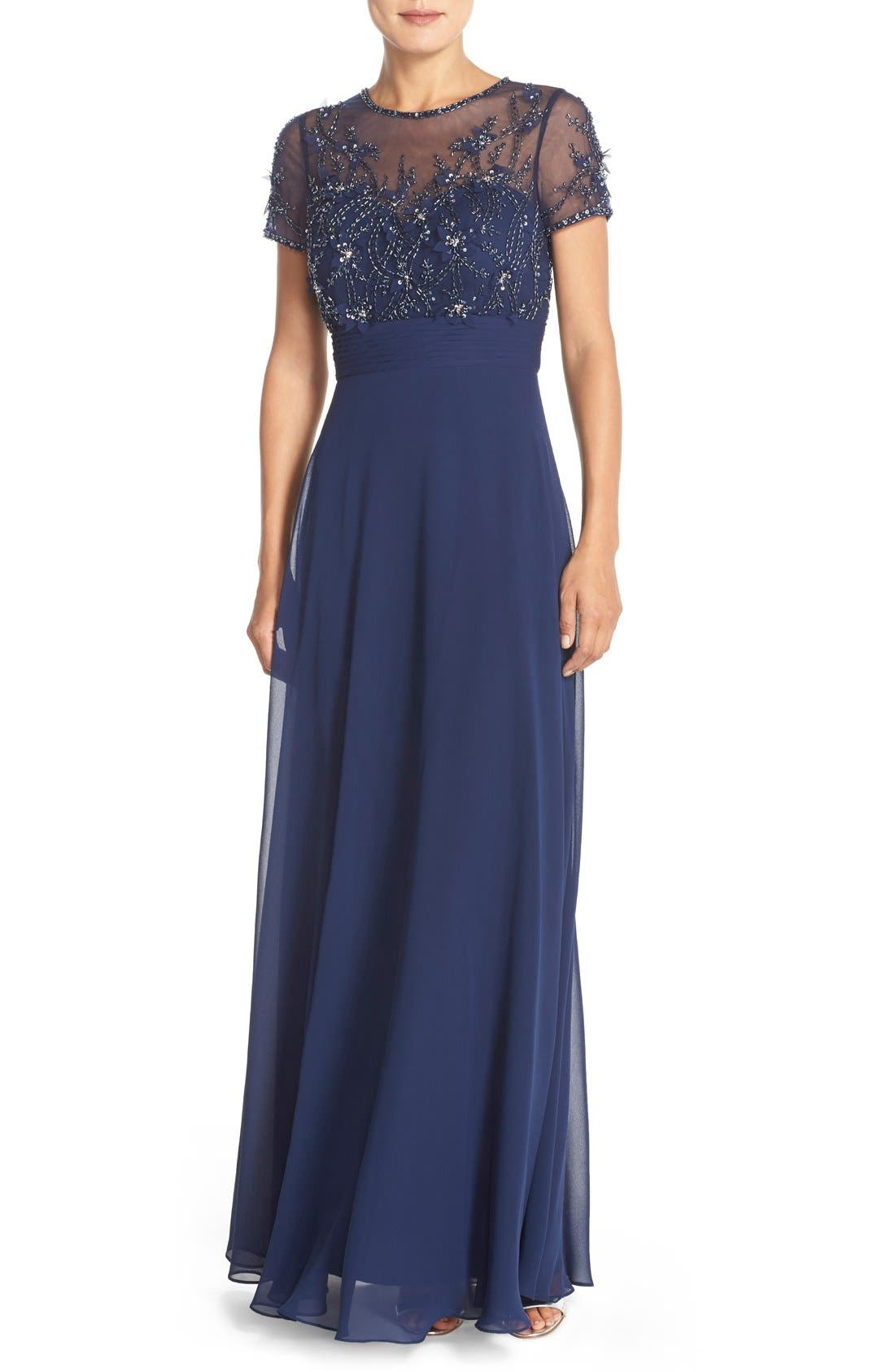 JS Collections Embellished Mesh & Chiffon Gown