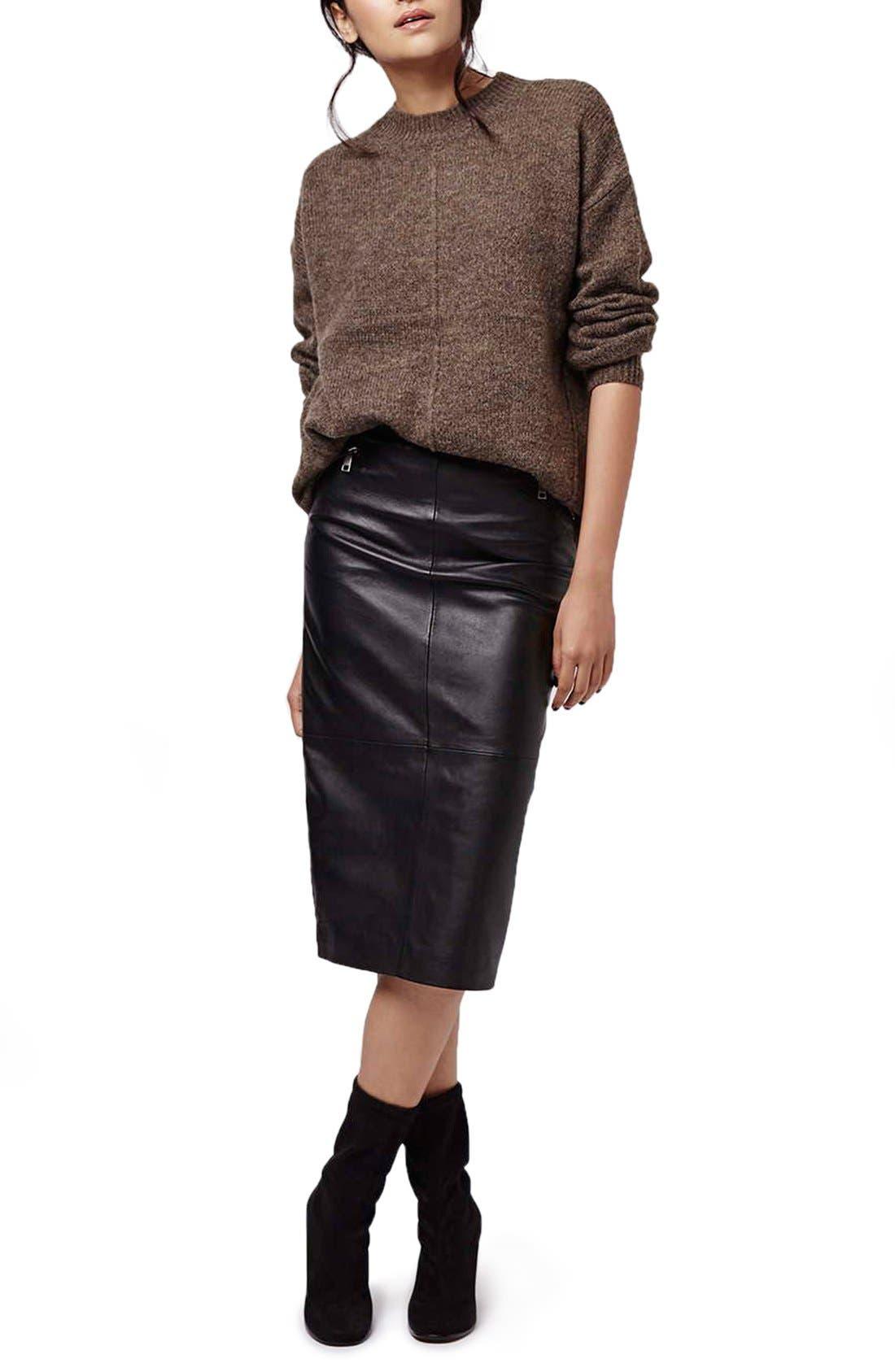 Alternate Image 2  - Topshop Leather Midi Skirt