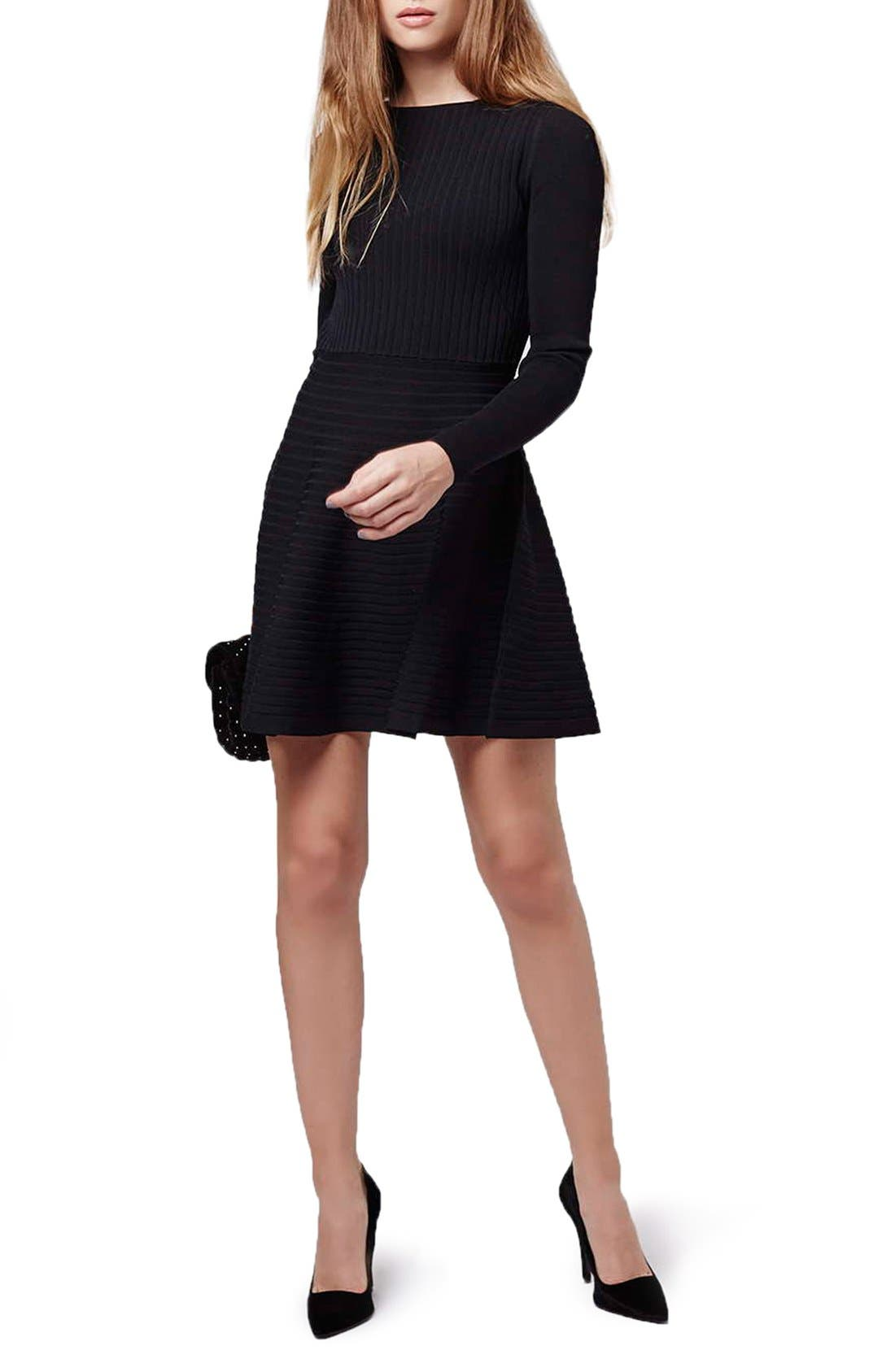 Alternate Image 2  - Topshop Ribbed Skater Dress with Lace-Up Back