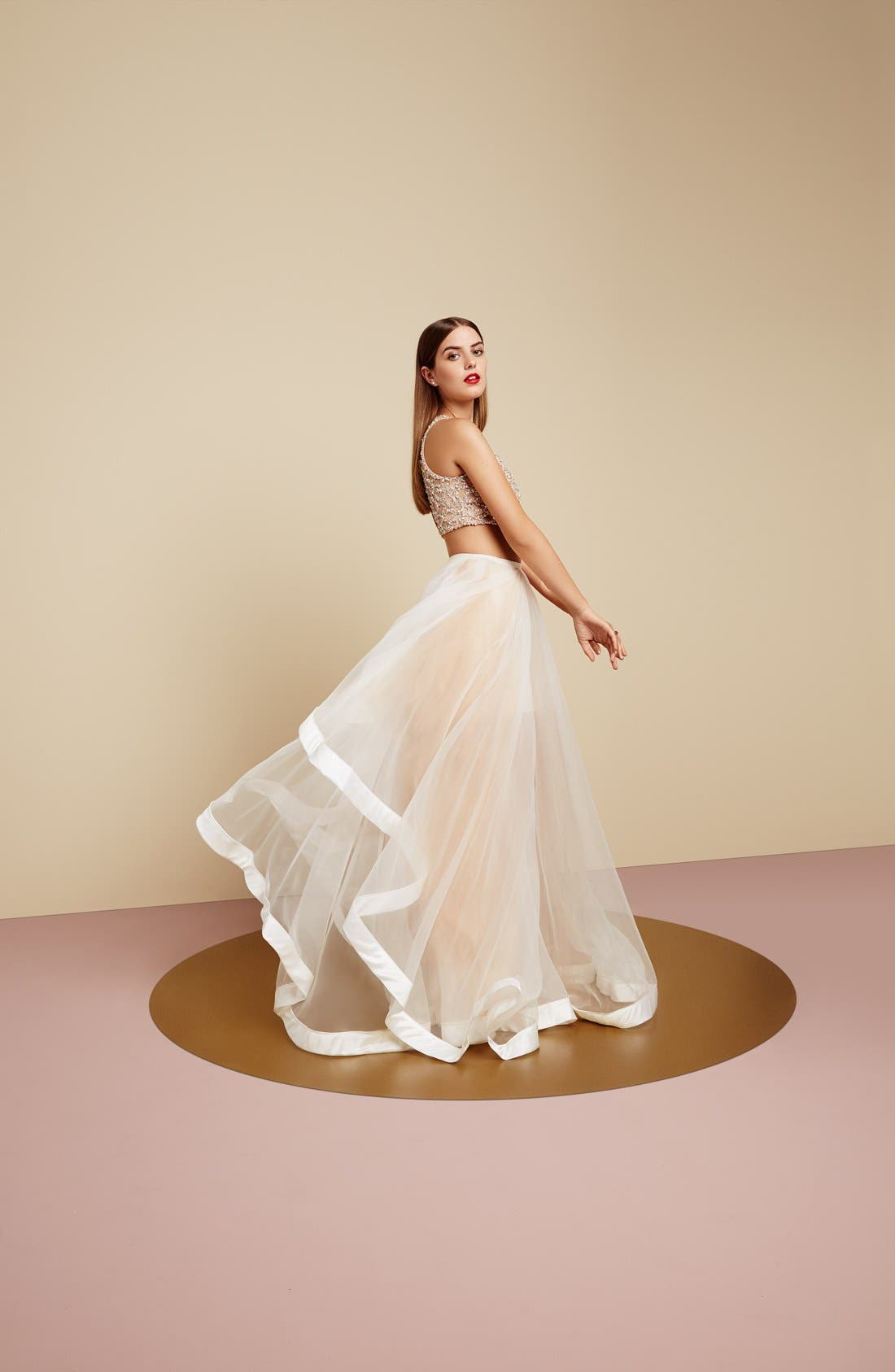 Alternate Image 4  - Glamour by Terani Couture Beaded Top & Organza Two-Piece Ballgown