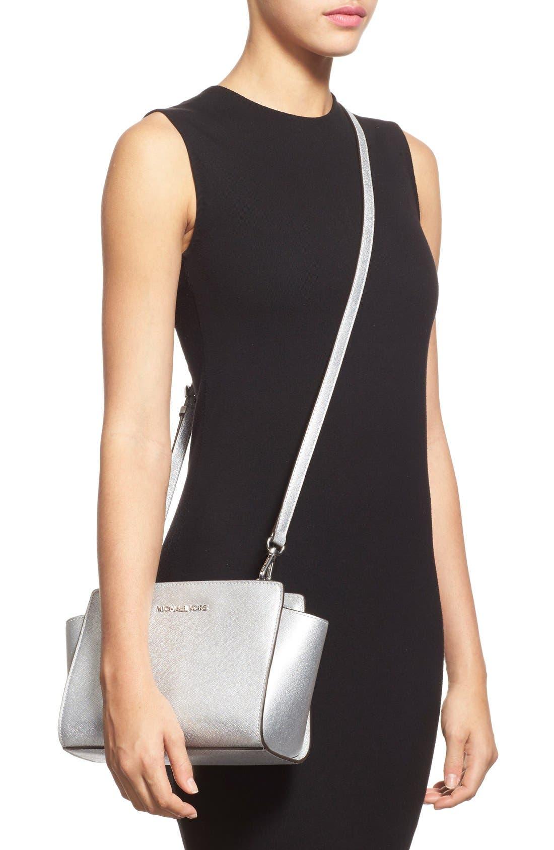 Alternate Image 2  - MICHAEL Michael Kors 'Medium Selma' Metallic Leather Crossbody Bag