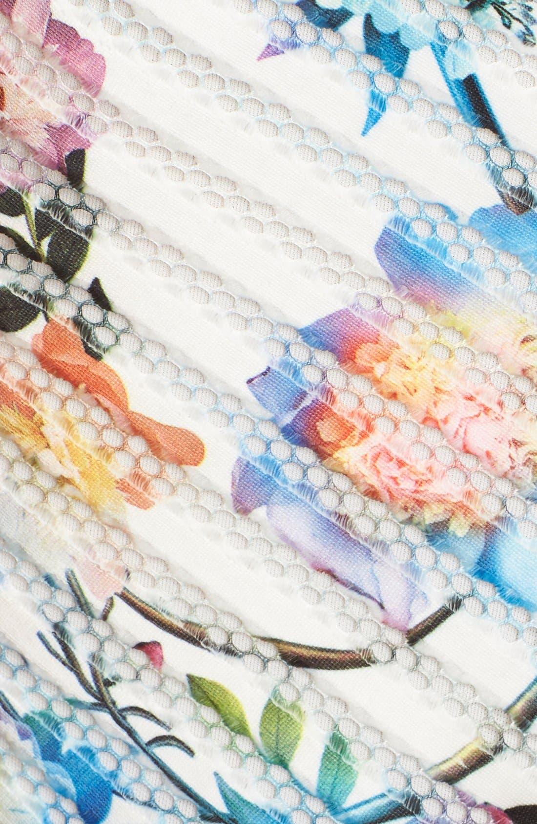 Alternate Image 5  - Gabby Skye Floral Scuba Mesh Fit & Flare Dress