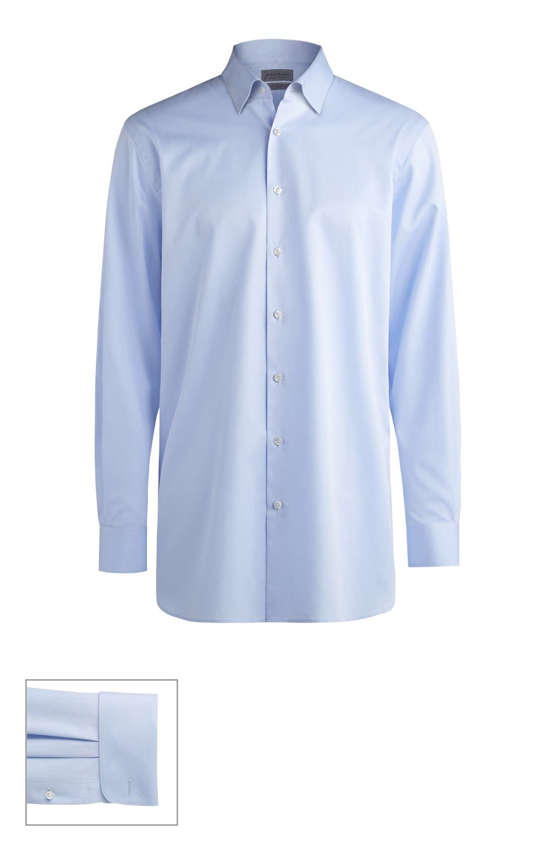 John W. Nordstrom® Made to Measure Trim Fit Straight Collar Solid Dress Shirt