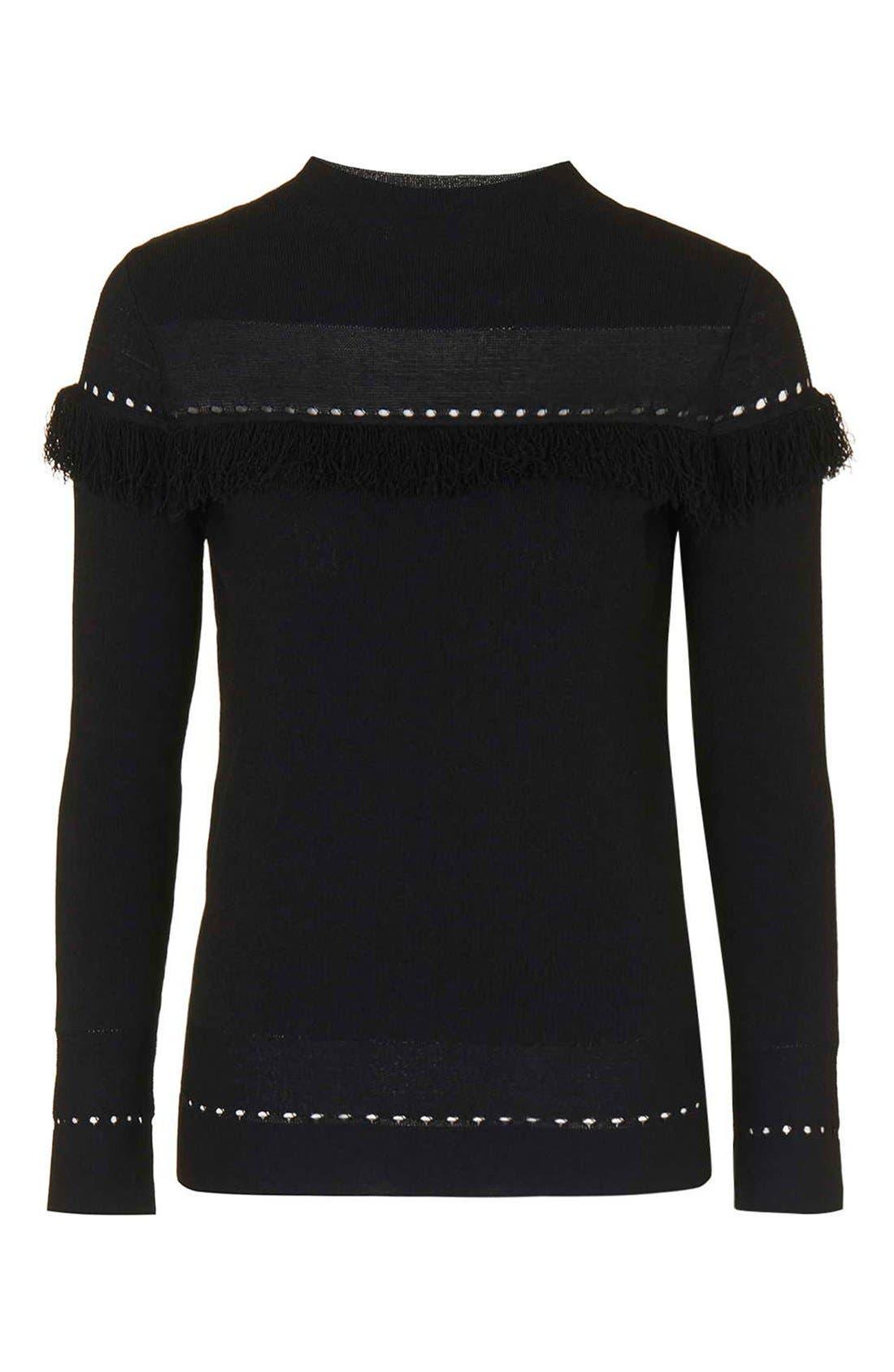 Alternate Image 4  - Topshop Perforated Fringe Sweater