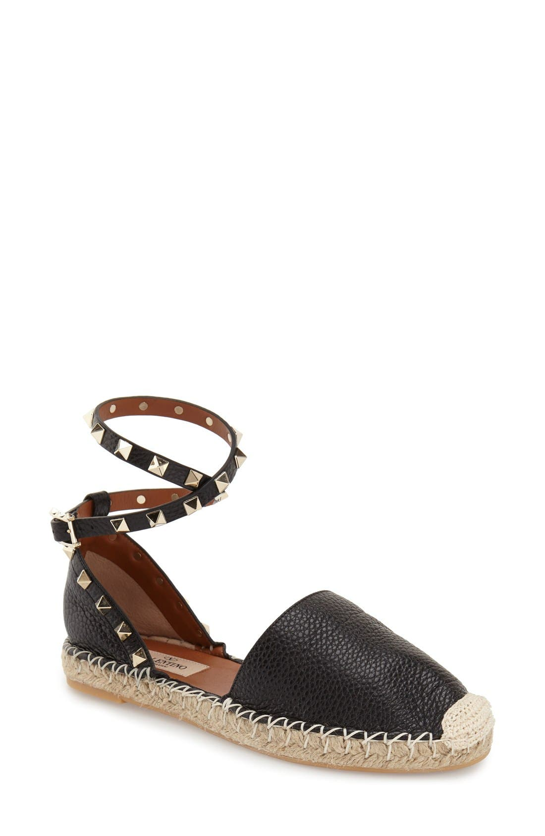 Alternate Image 1 Selected - Valentino 'Rockstud' Ankle Strap Espadrille (Women)