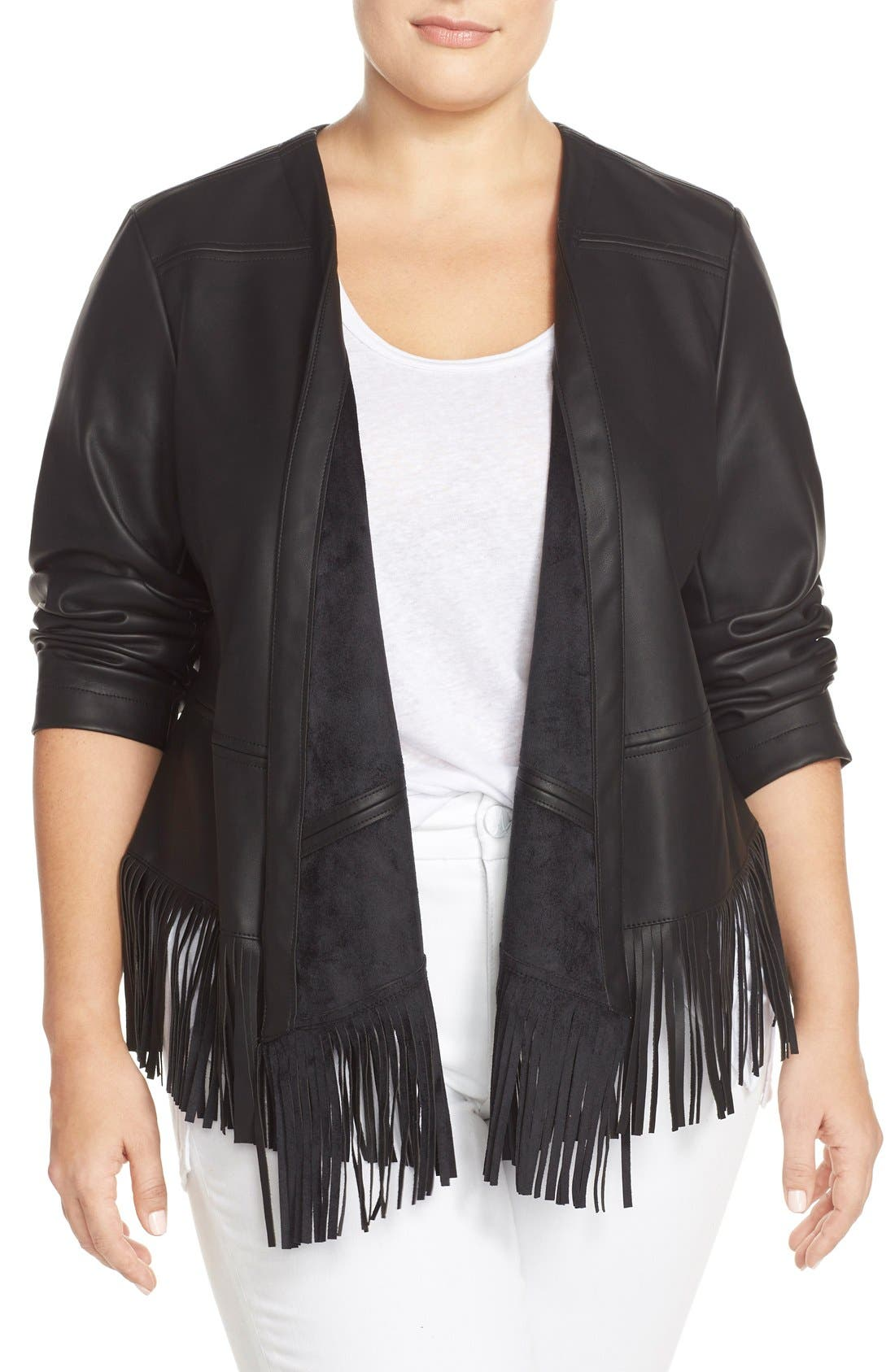 Alternate Image 1 Selected - Bernardo Fringe Faux Leather Jacket (Plus Size)