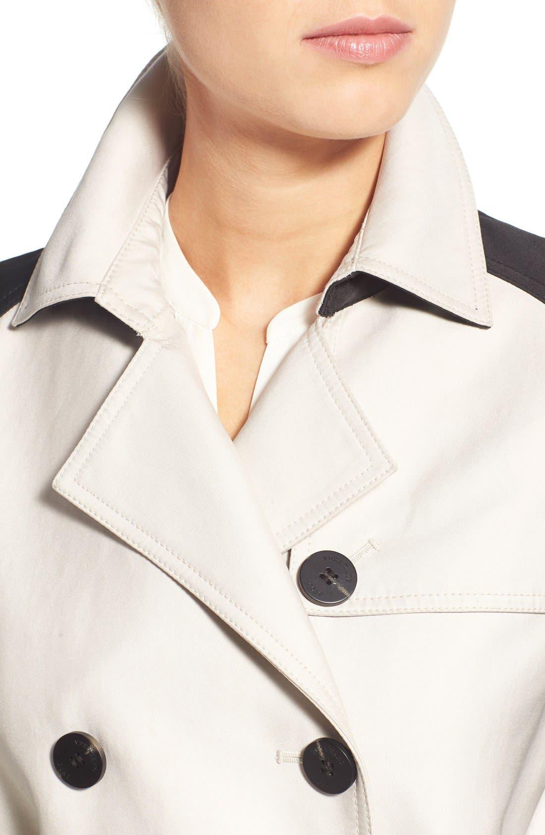 Alternate Image 4  - Vera Wang Contrast Sleeve Trench Coat