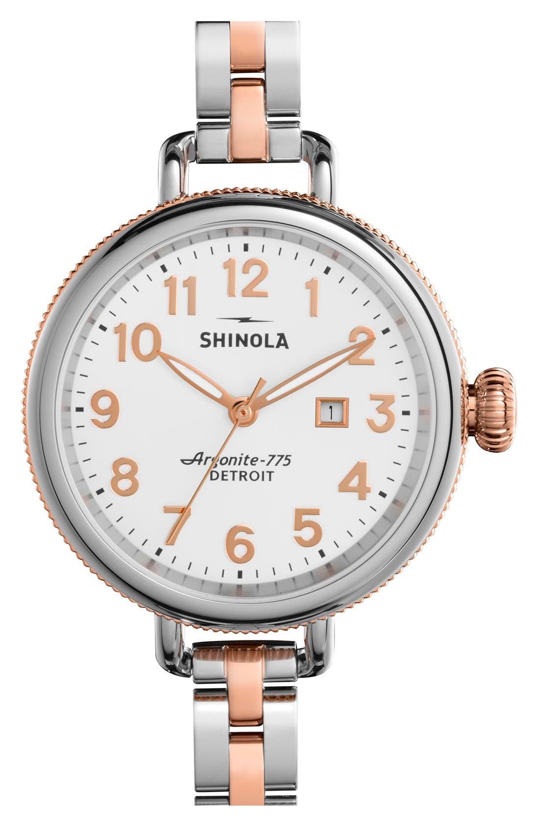 Shinola 'The Birdy' Bracelet Watch, 34mm