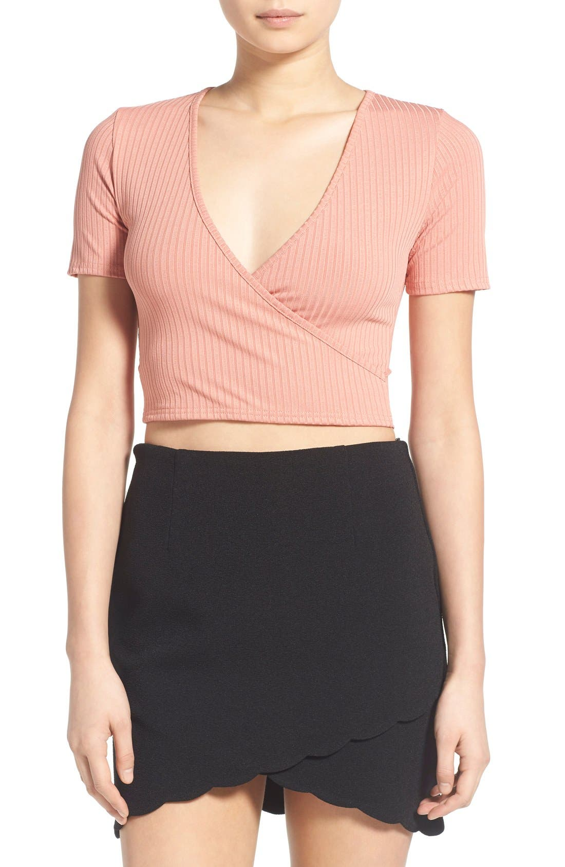 Main Image - Missguided Rib Wrap Front Crop Top